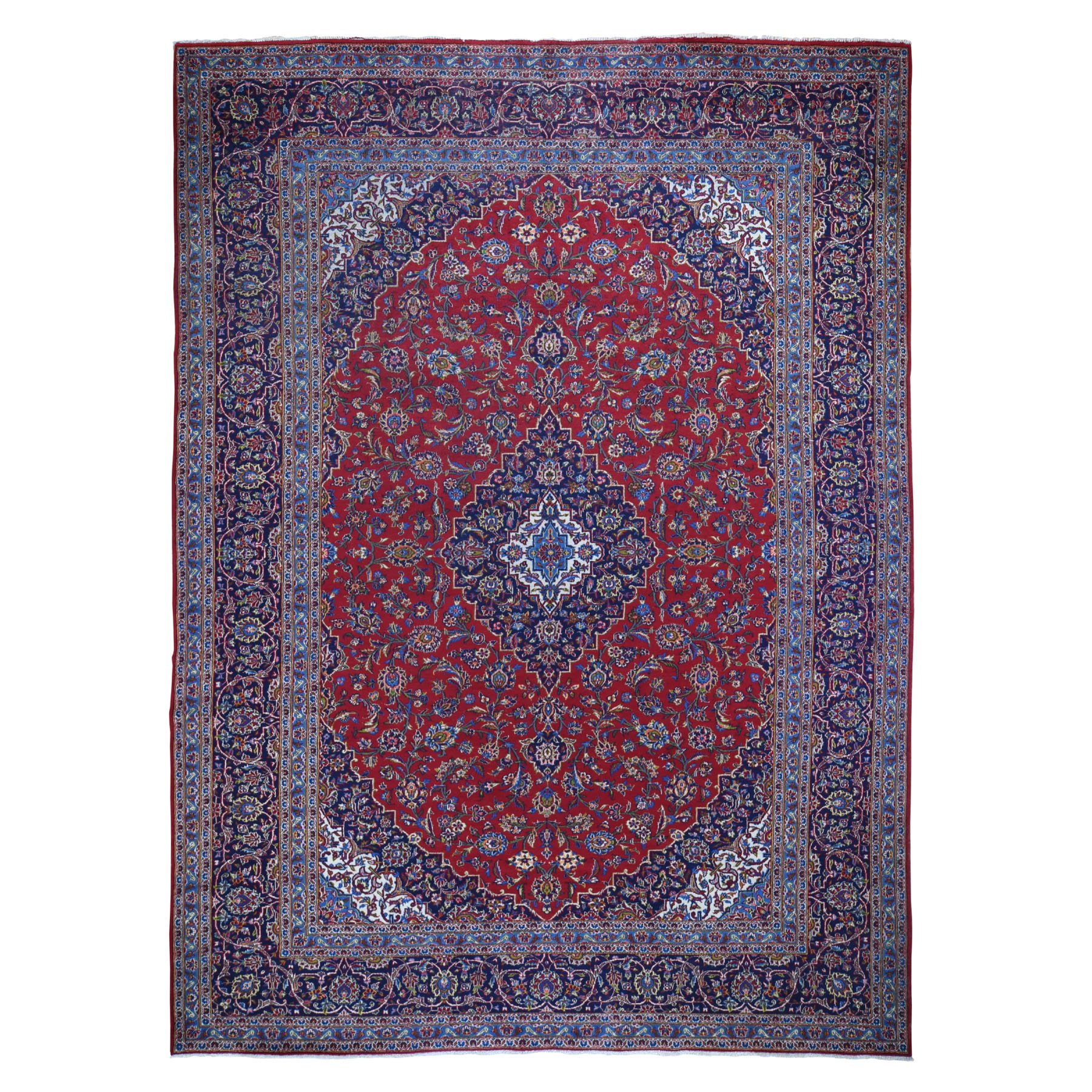 """9'10""""X13'4"""" Red Semi Antique Persian Kashan Full Pile Pure Wool Hand Knotted Oriental Rug moad8cdd"""