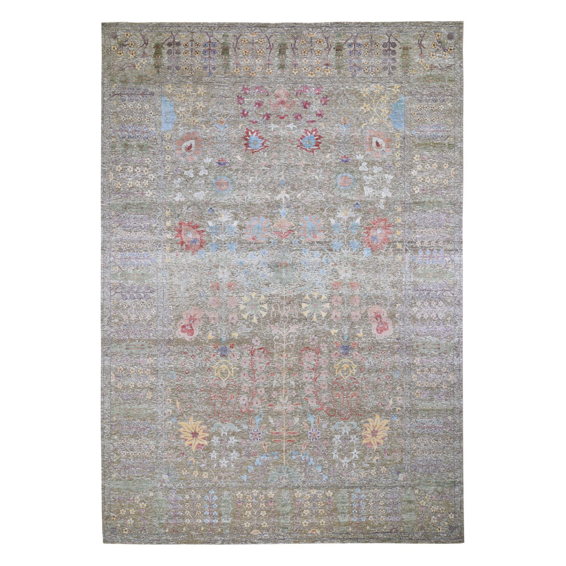 10'X14' Honey Brown Silk With Textured Wool Vaze Design Hand Knotted Oriental Rug moad8cd9
