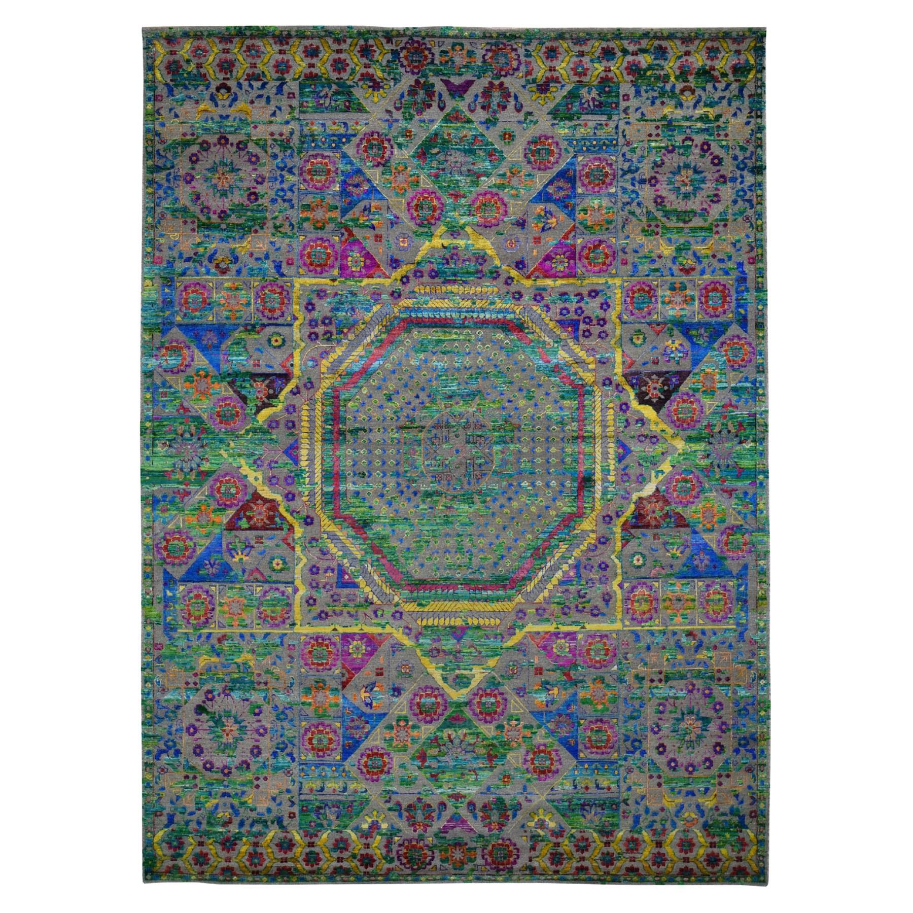 "8'10""x12'1"" Colorful Sari Silk Mamluk Design Hand Knotted Oriental Rug"