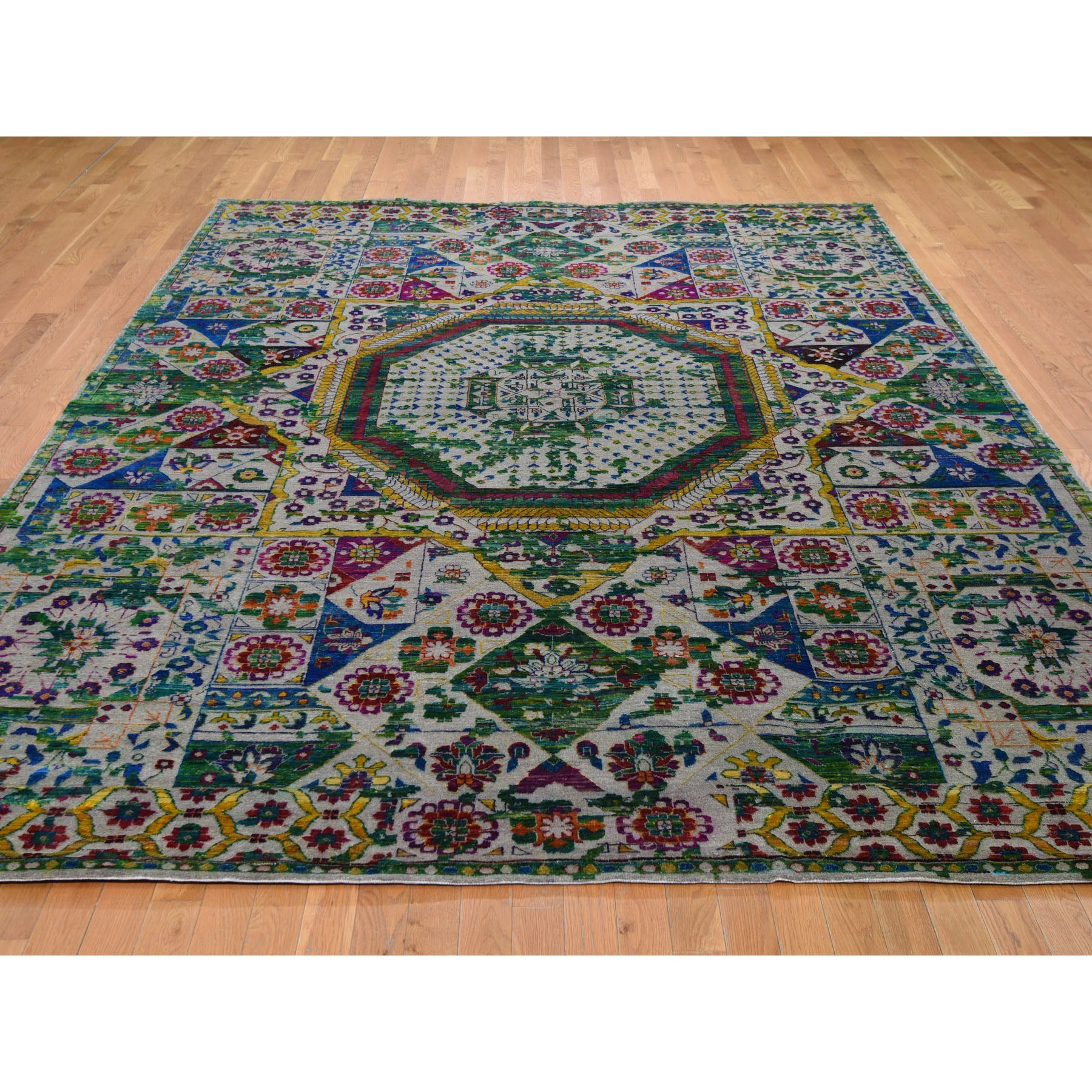 8-10 x12-1  Colorful Sari Silk Mamluk Design Hand Knotted Oriental Rug