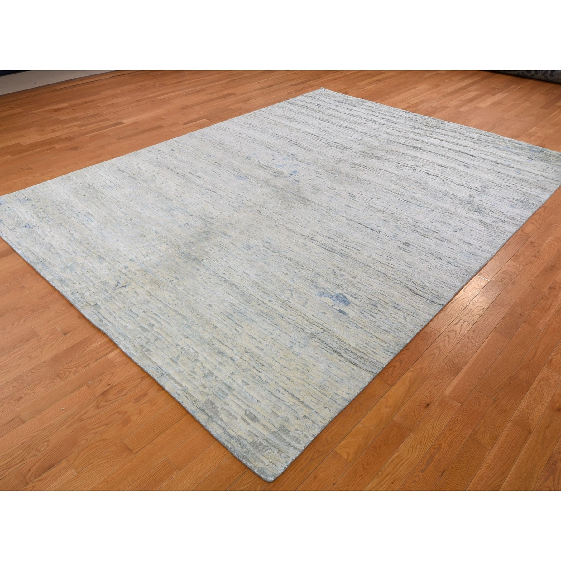 9-x12- Ivory Pure Silk With Textured Wool Fluffy Collection Hand Knotted Oriental Rug