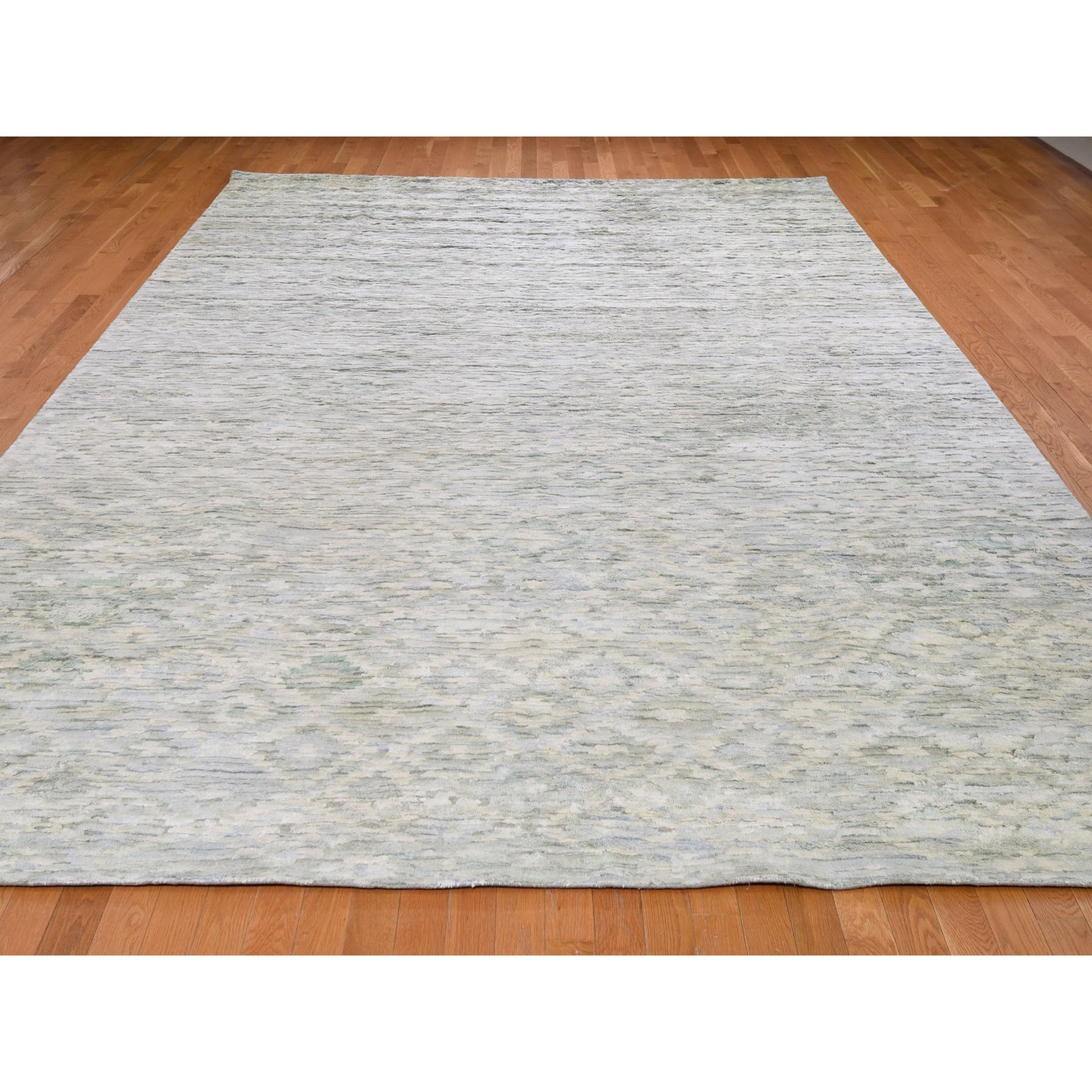 9-10 x14- Ivory Pure Silk With Textured Wool Fluffy Collection Hand Knotted Oriental Rug