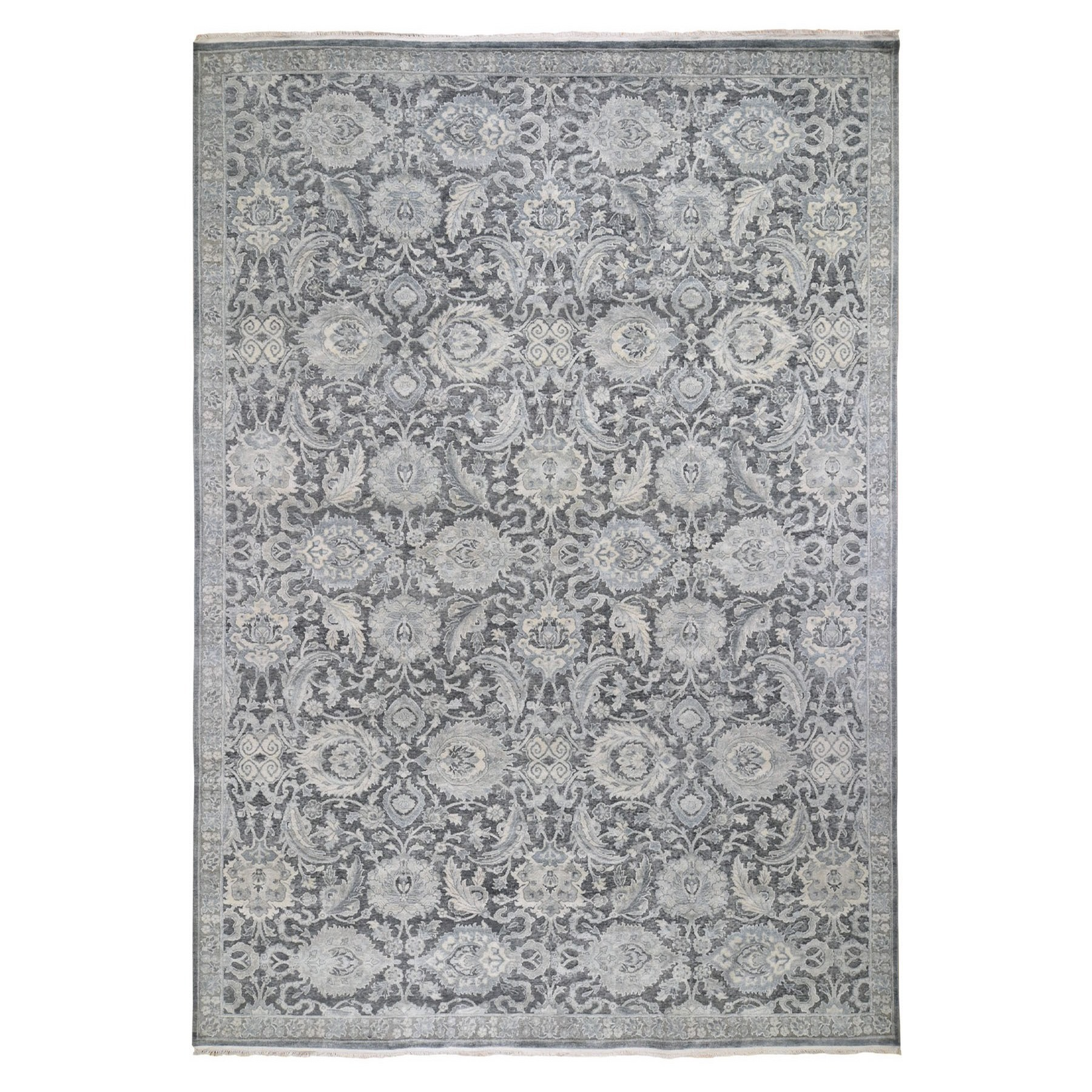 "9'10""x14'3"" Hand Knotted Oushak Influence Pure Silk with Textured Wool Oriental Rug"