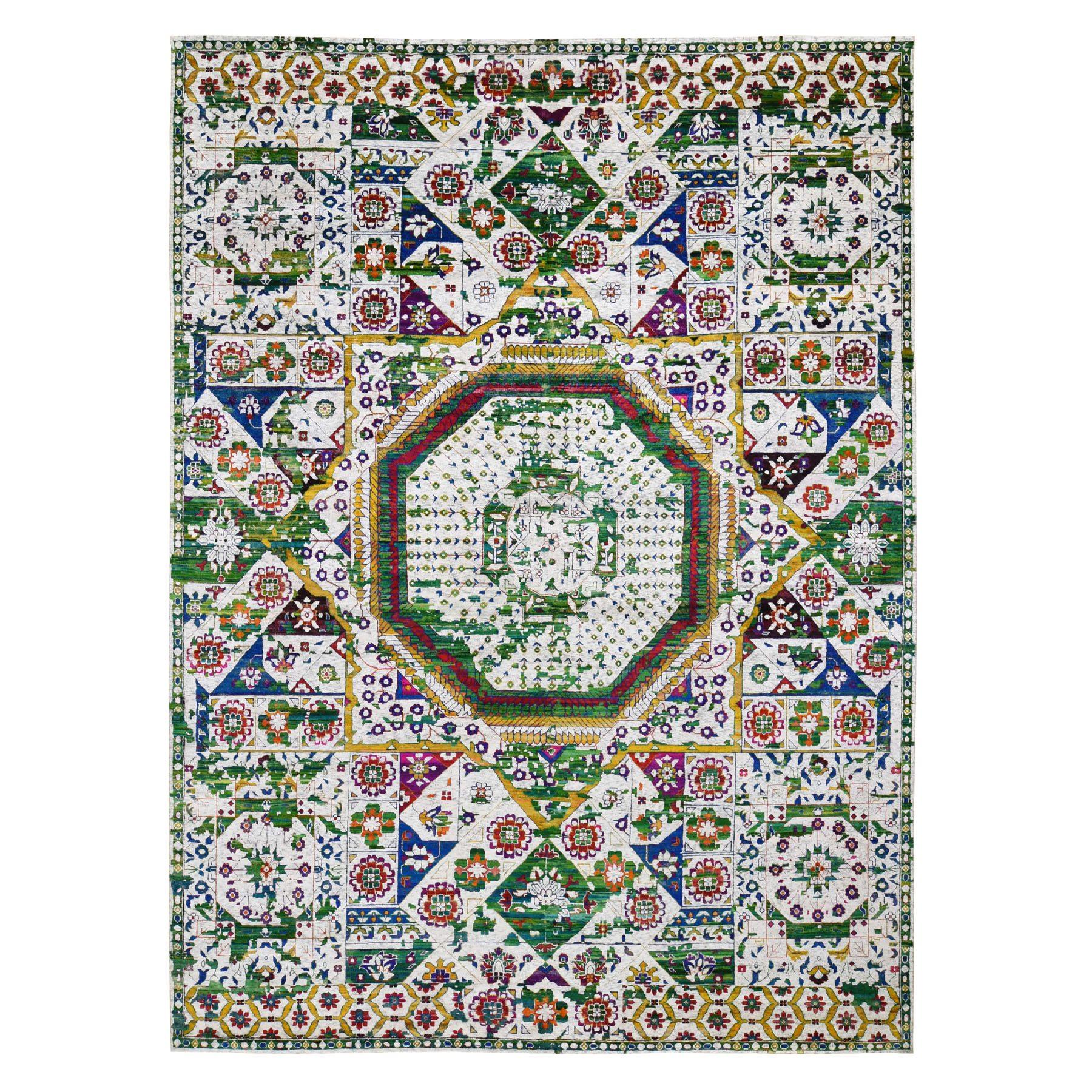 "9'x12'1"" Colorful Sari Silk Mamluk Design Hand Knotted Oriental Rug"
