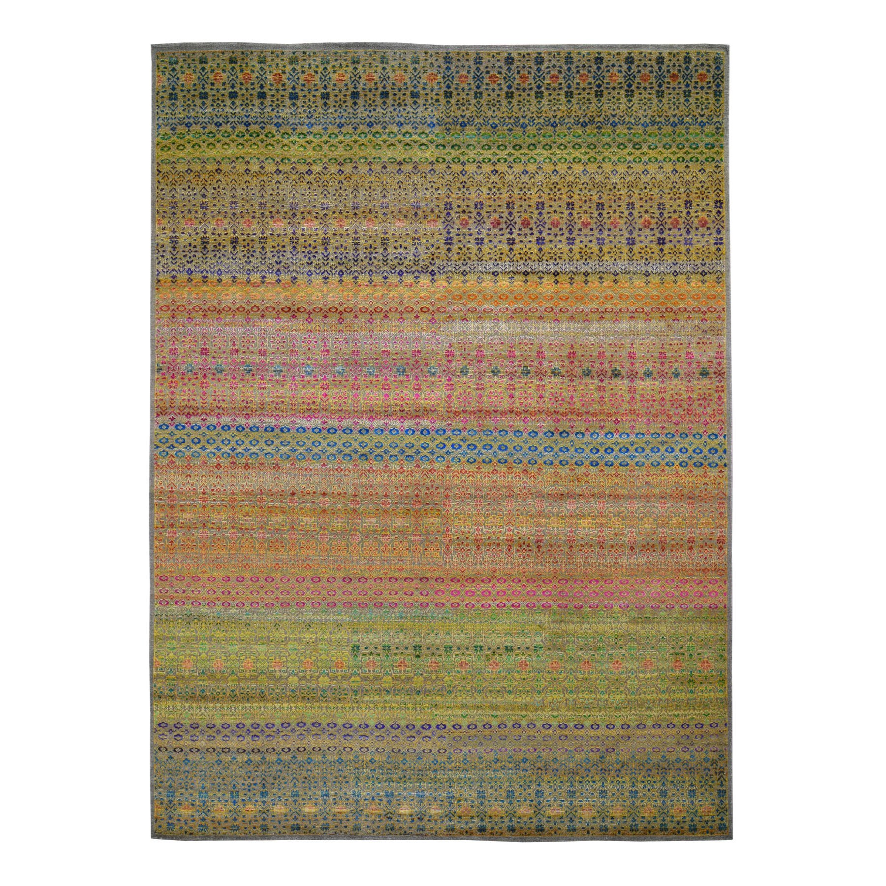 "8'10""X12' Colorful Grass Design Sari Silk Textured Wool Modern Hand Knotted Oriental Rug moad8c67"