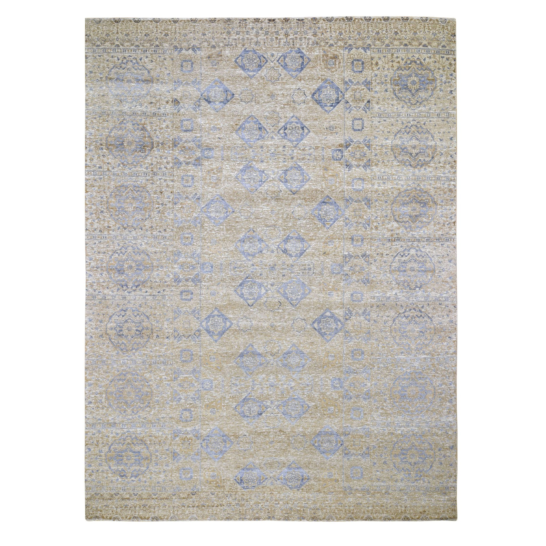 "9'X12'2"" Silk With Textured Wool Mamluk Design Hand Knotted Oriental Rug moad8c68"