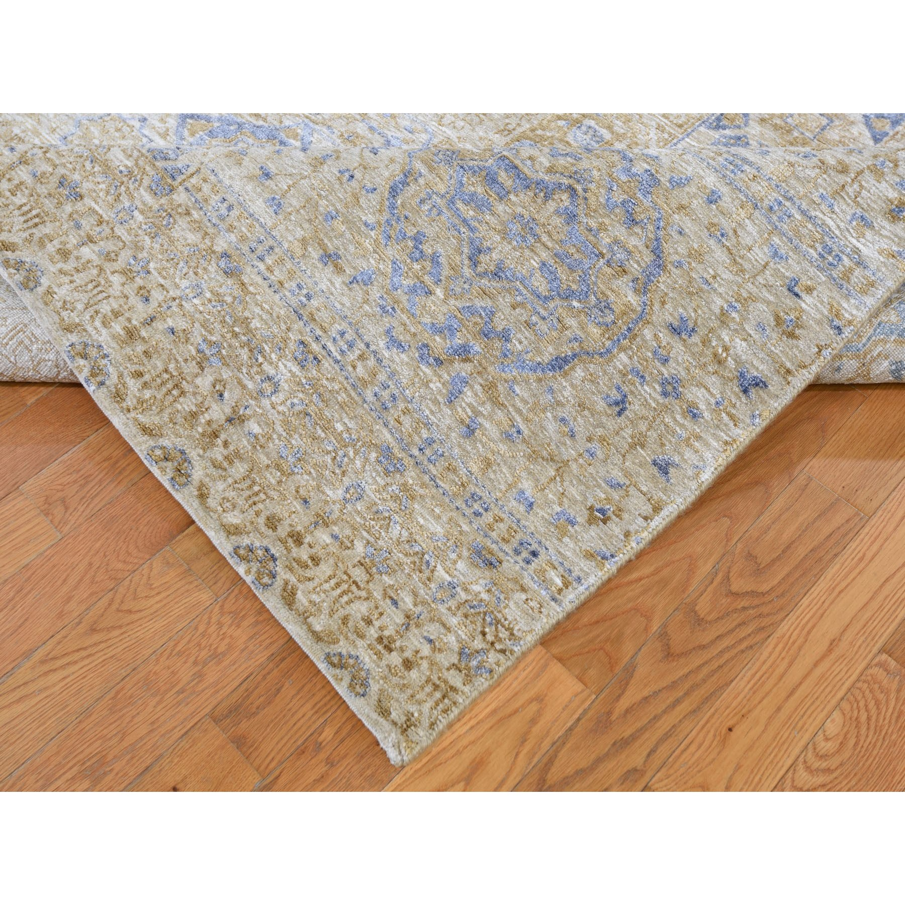 9-x12-2  Silk With Textured wool Mamluk Design Hand knotted Oriental Rug