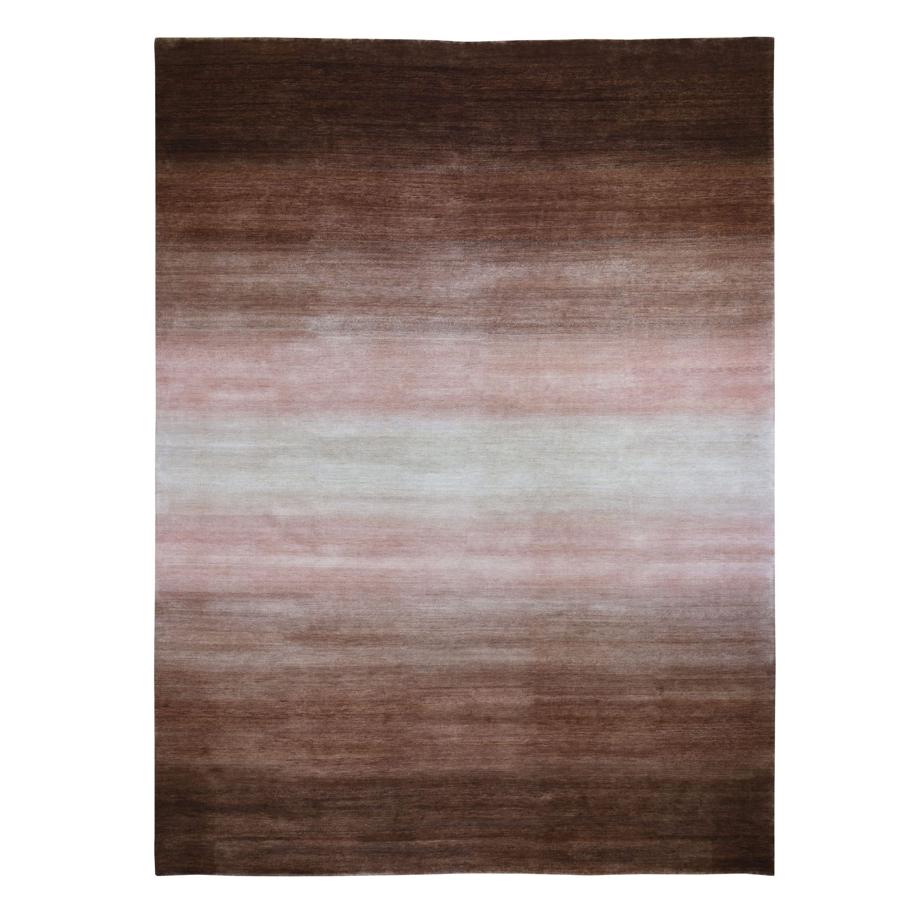 "12'4""X15' Oversized Brown Champagne Modern Gabbeh Ombre Design Pure Wool Hand Knotted Oriental Rug moad8c7c"