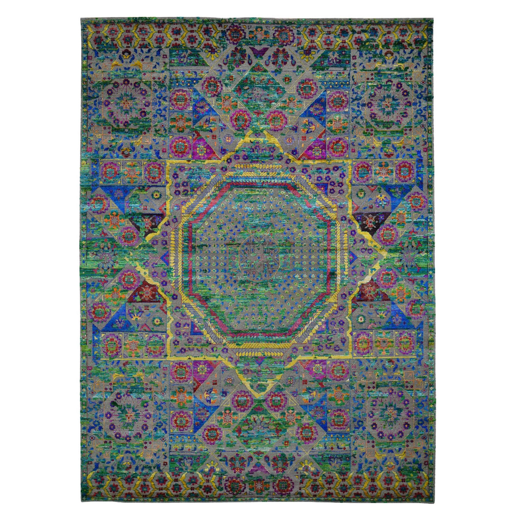 "9'X12'1""  Colorful Sari Silk Mamluk Design Hand Knotted Oriental Rug moad8c7d"