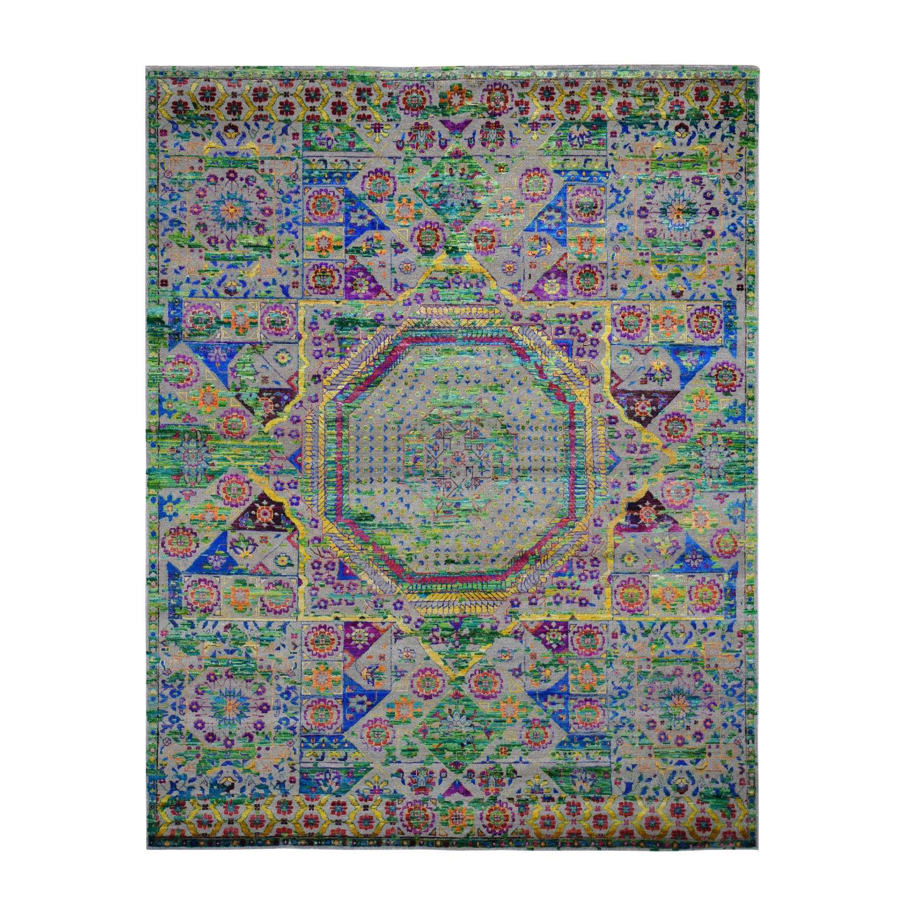 "7'10""X10' Colorful Sari Silk Mamluk Design Hand Knotted Oriental Rug moad8c77"