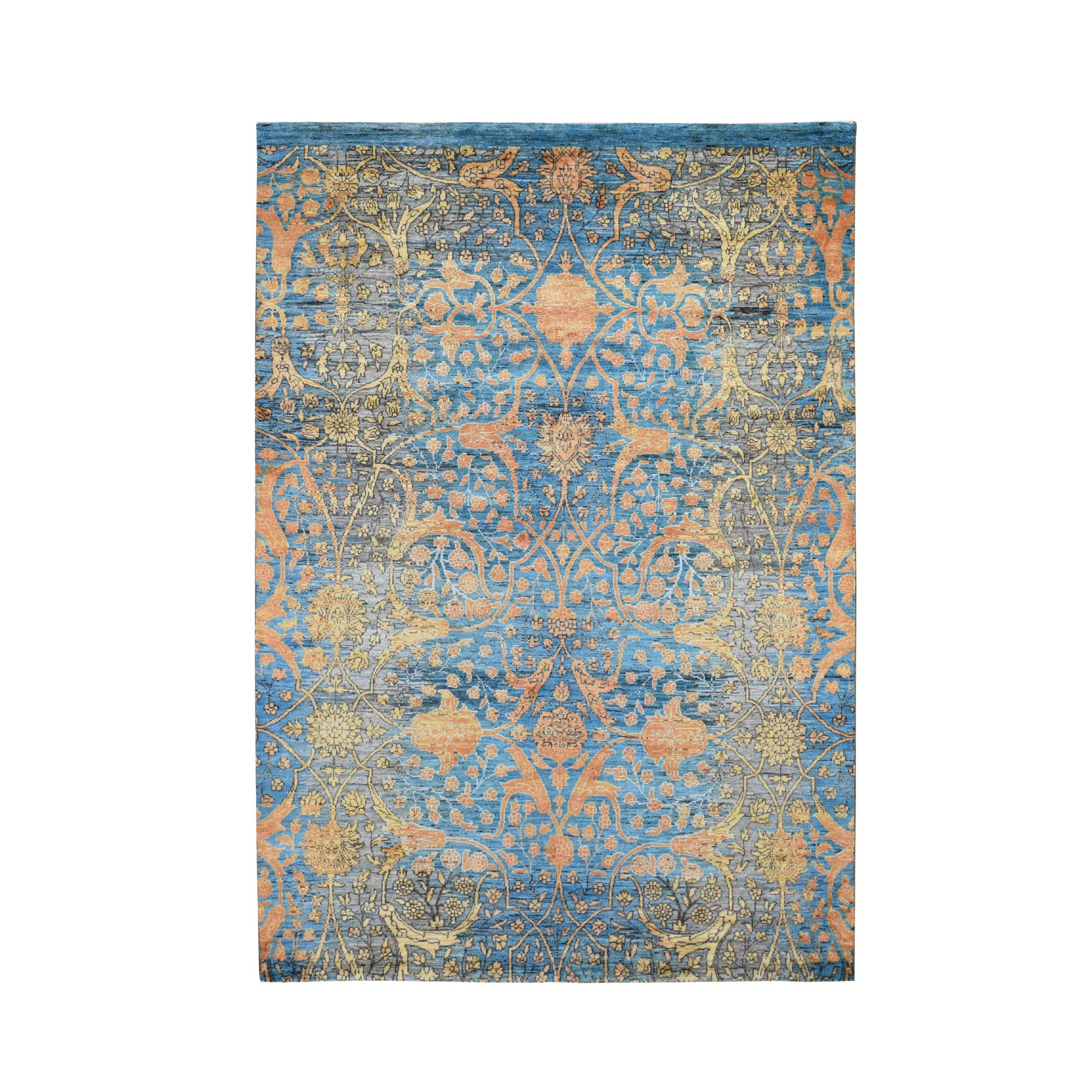 "5'5""X7'9"" Blue Art Silk With Transitional Persian Design Hand Knotted Oriental Rug moad8c79"