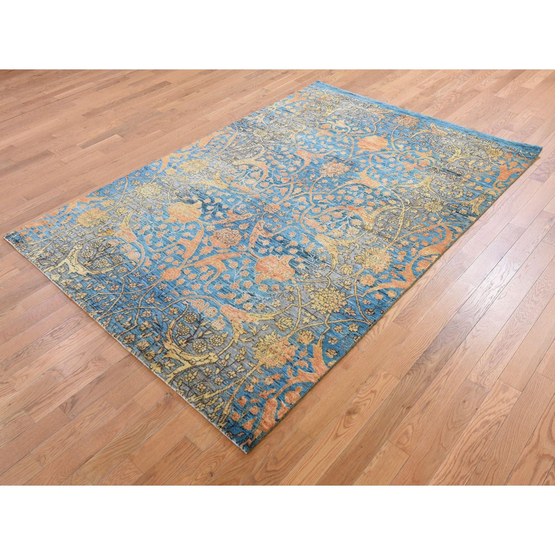 5-5 x7-9  Blue Art Silk With Transitional Persian Design Hand Knotted Oriental Rug