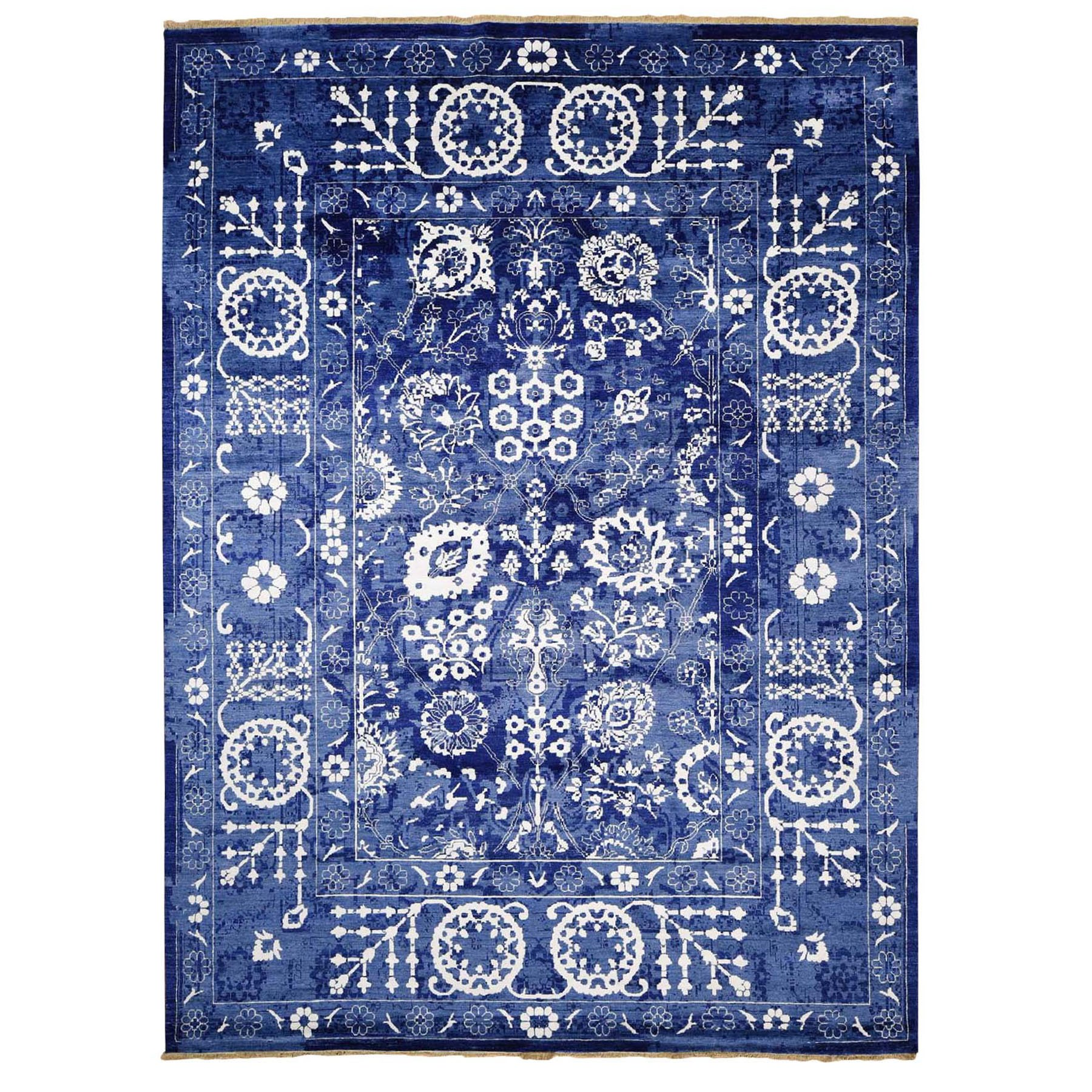 "9'1""X12'1"" Blue Wool And Silk Tone On Tone Tabriz Oriental Hand Knotted Rug moad8c8c"