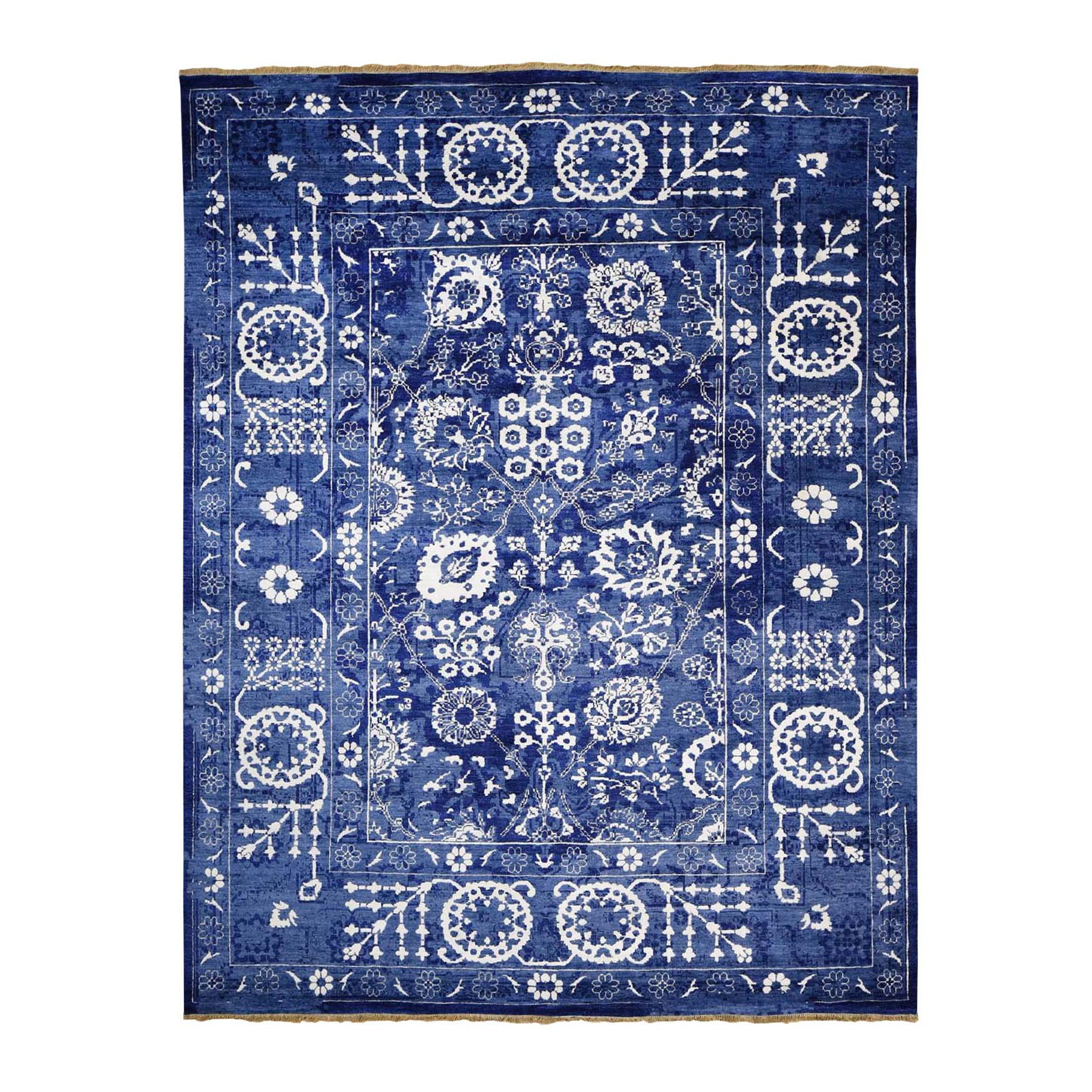 "8'1""X10'1"" Blue Wool And Silk Tone On Tone Tabriz Oriental Hand Knotted Rug moad8c8d"