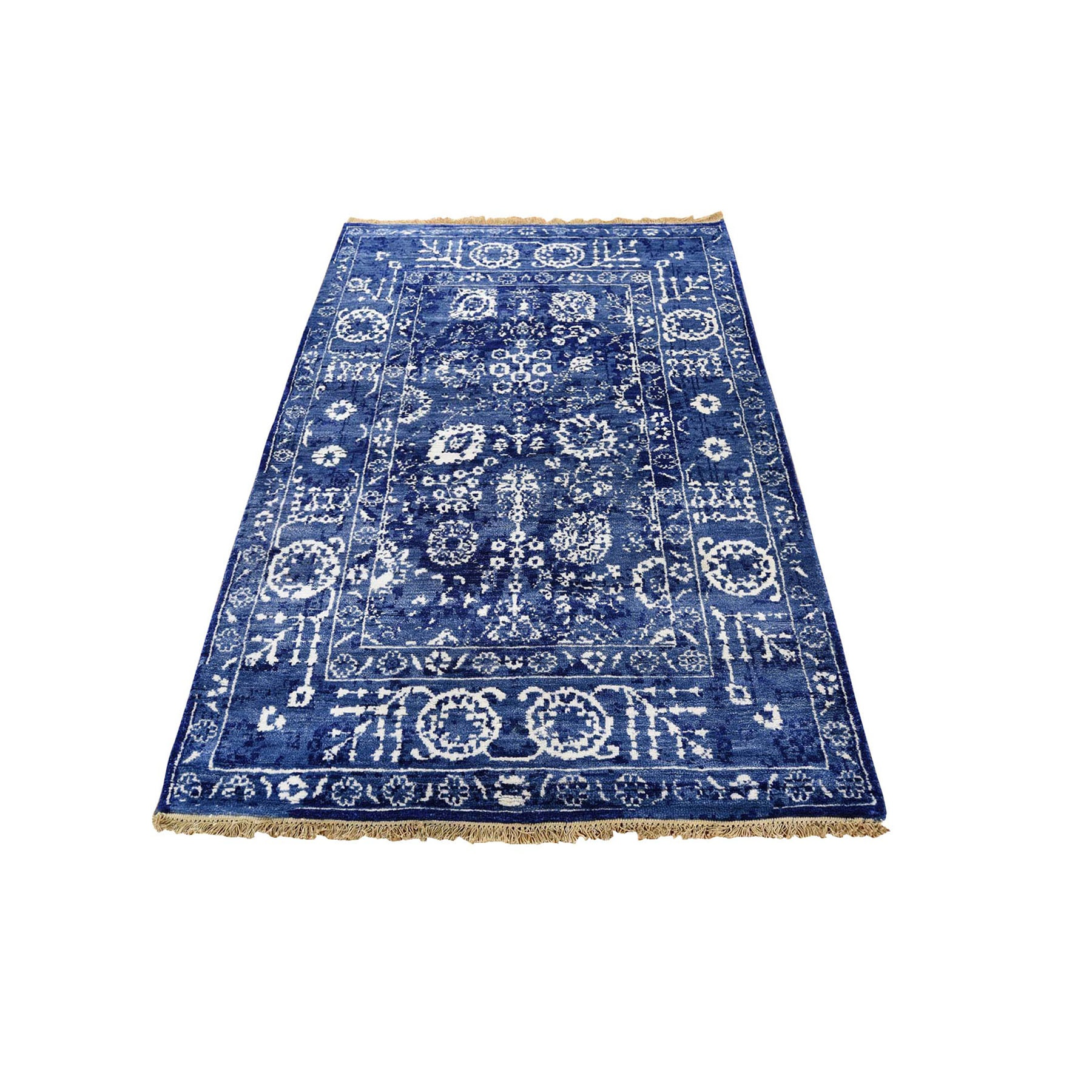"3'1""X5' Blue Wool And Silk Tone On Tone Tabriz Hand Knotted Oriental Rug moad8c86"