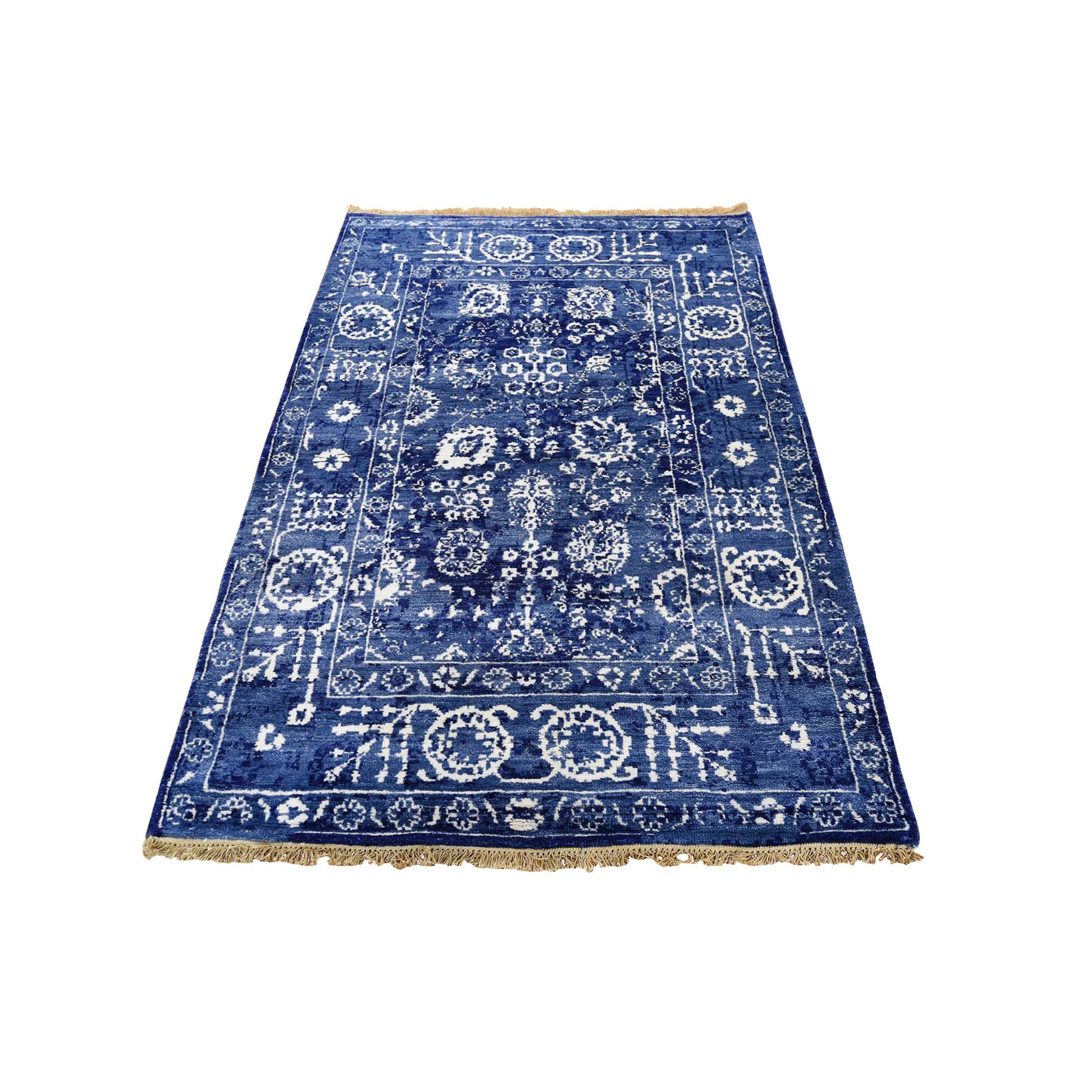 "3'1""x5' Blue Wool and Silk Tone On Tone Tabriz Hand Knotted Oriental Rug"