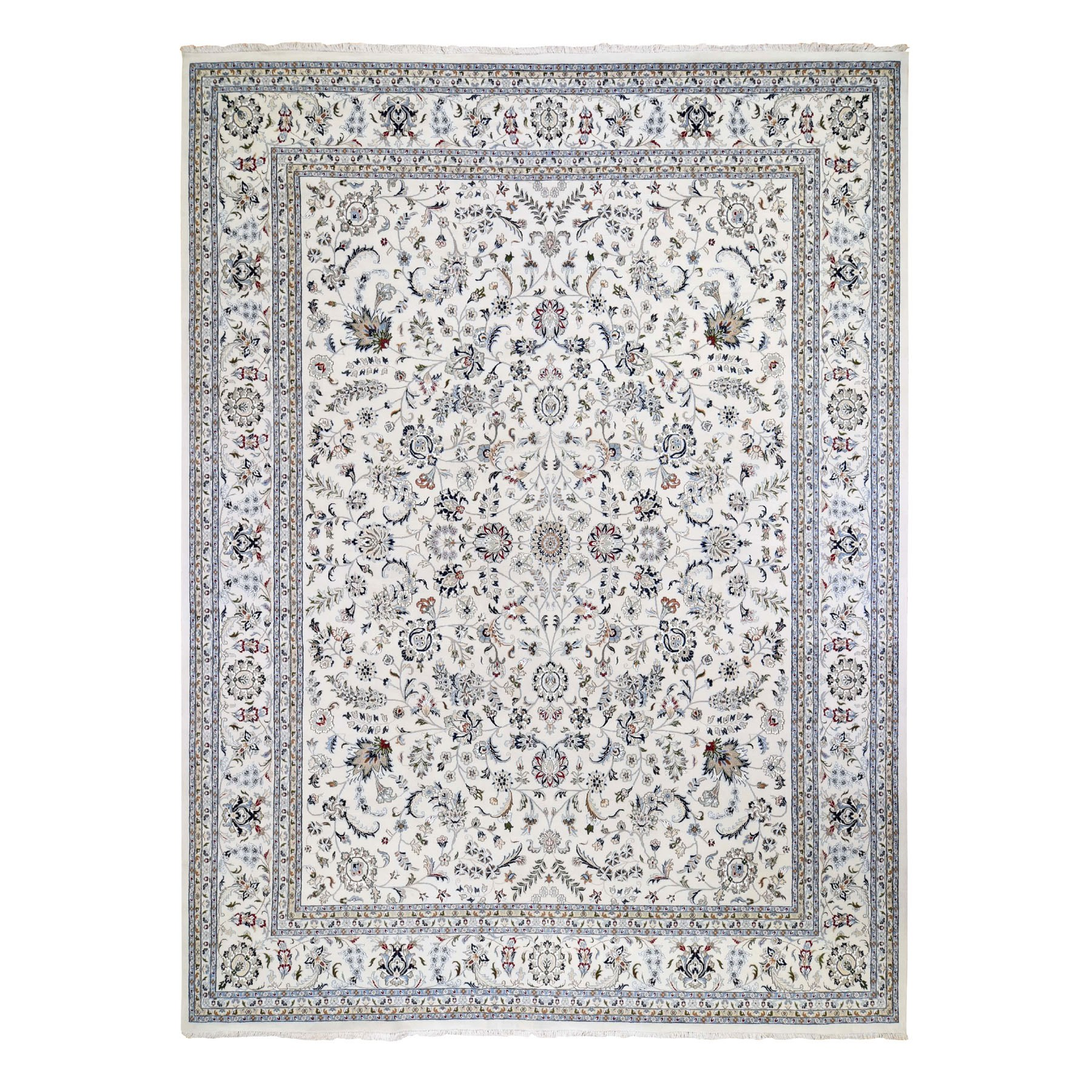 "11'8""X15' Oversized Ivory Nain Wool And Silk All Over Design 250 Kpsi Hand Knotted Oriental Rug moad8c9c"