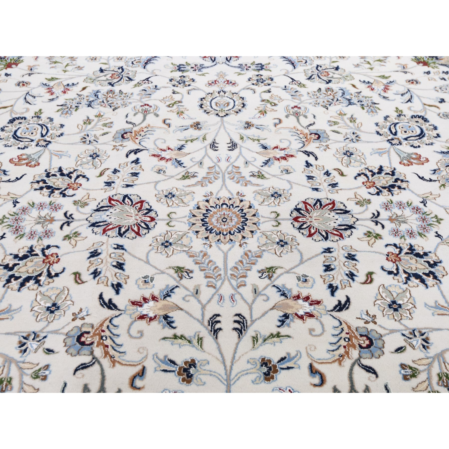 """11'8""""x15' Oversized Ivory Nain Wool And Silk All Over Design 250 KPSI Hand Knotted Oriental Rug"""