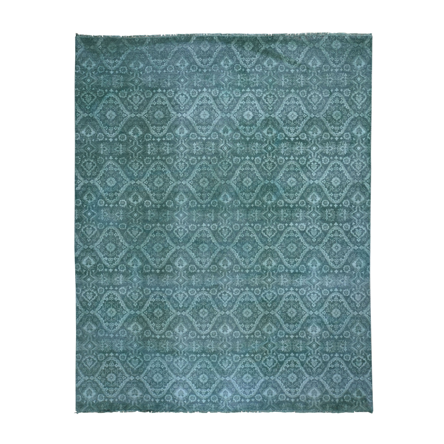 "8'X10'1"" Teal Green Overdyed Wool And Silk Hand Knotted Oriental Rug moad8c97"