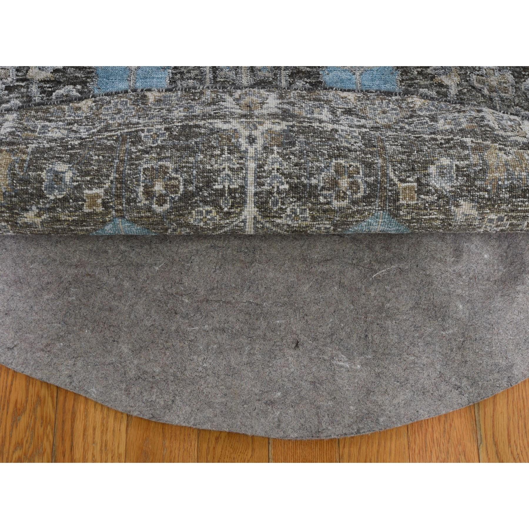 8-x8- Round Cypress Tree Design Silk with Textured Wool Hand Knotted Oriental Rug