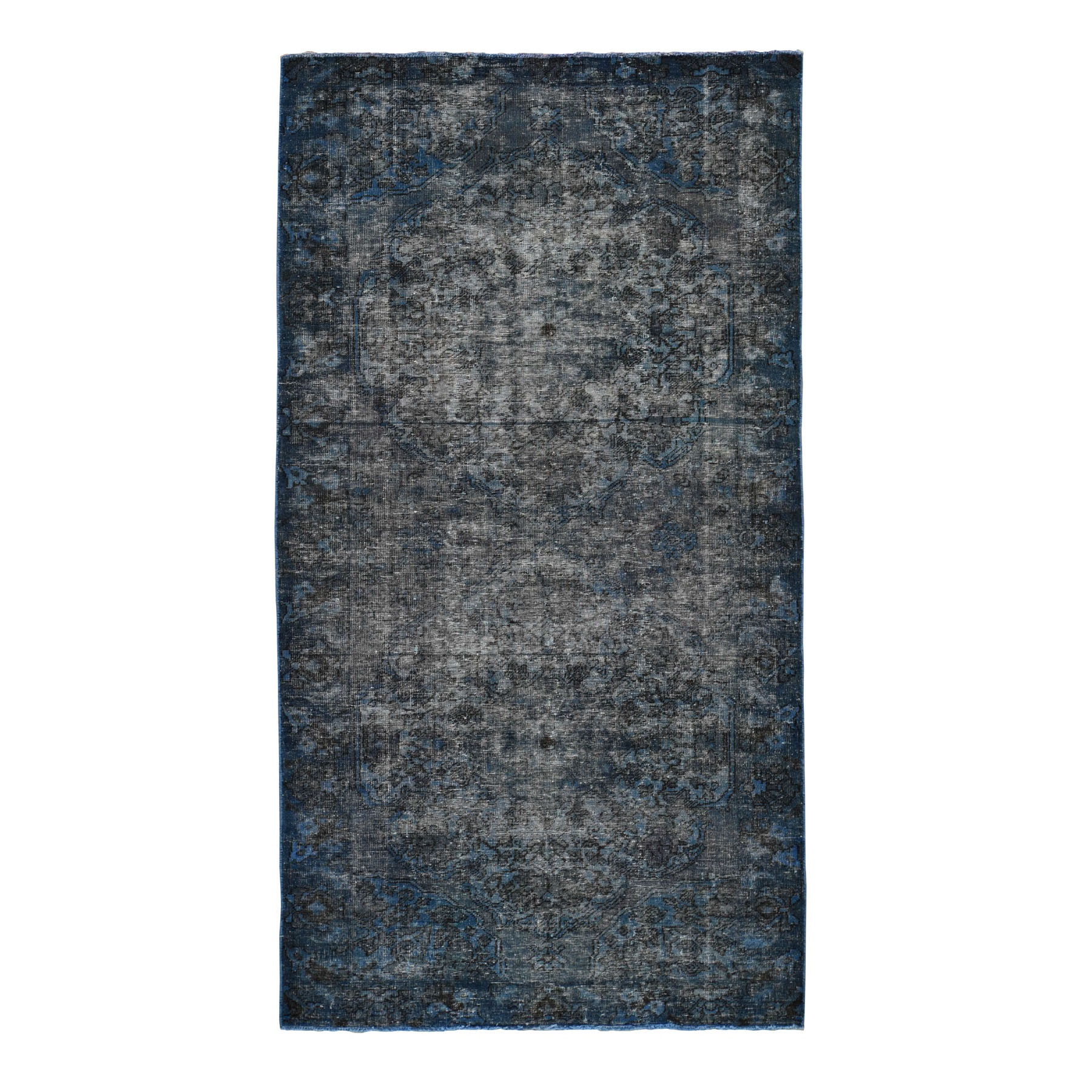"5'X9'6"" Denim Blue Cast Overdyed Persian Bakhtiari Vintage Wide Runner Oriental Rug moad8d0b"