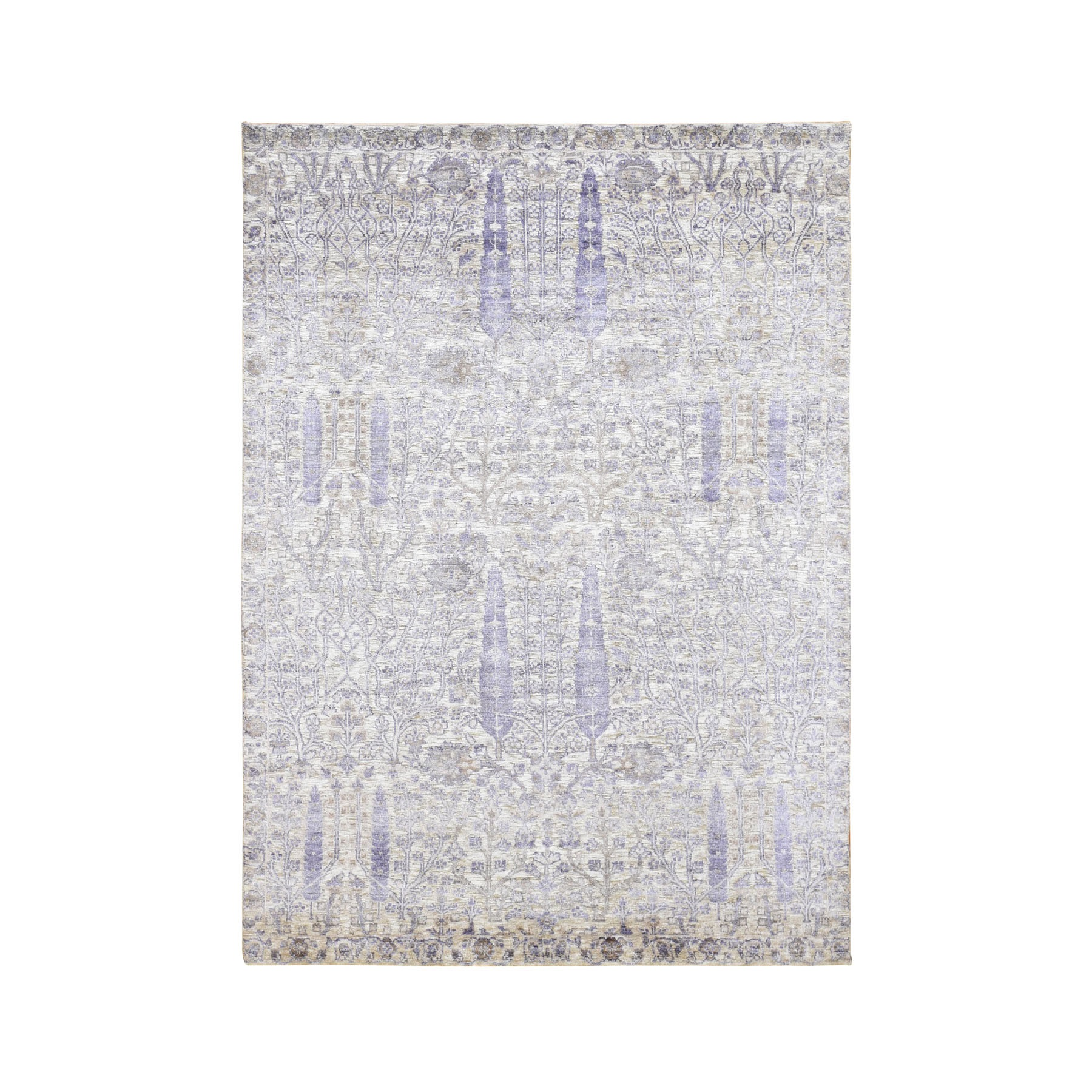5'X6'10' Willow And Cypress Tree Design Silk With Textured Wool Hand Knotted Oriental Rug moad8d0c