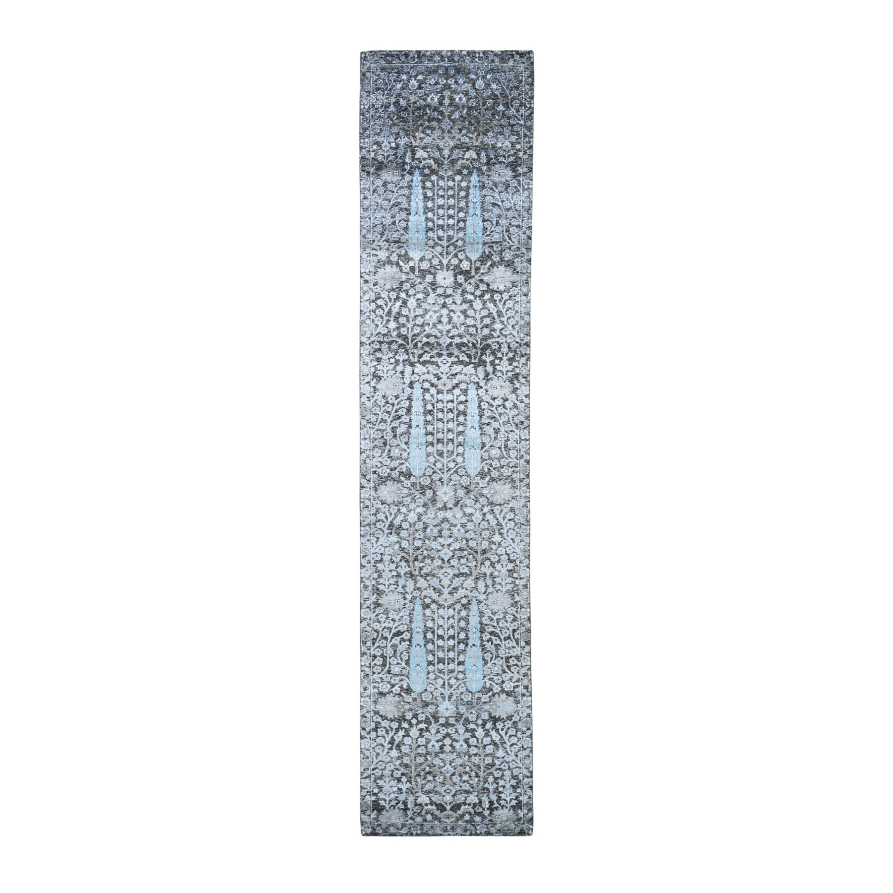 "2'7""X12' Cypress Tree Design Silk With Textured Wool Runner Hand Knotted Oriental Rug moad8d0d"