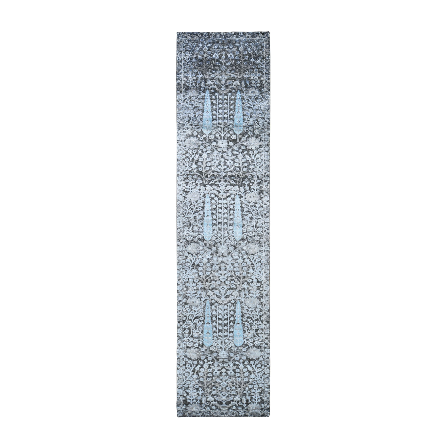 "2'6""X12' Cypress Tree Design Silk With Textured Wool Runner Hand Knotted Oriental Rug moad8d0e"