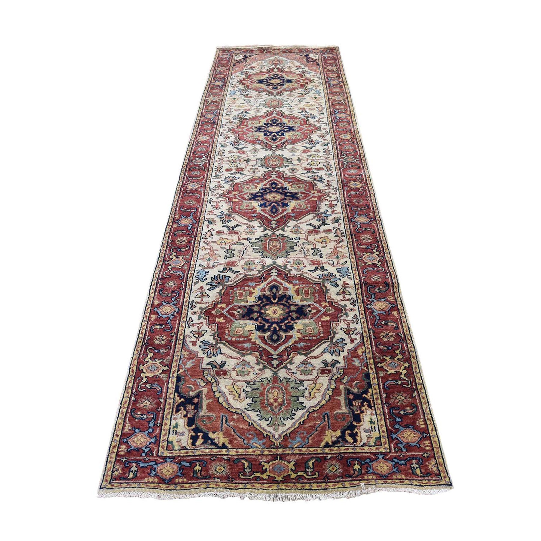 "2'8""X10'1"" Antiqued Heriz Re-Creation Runner Hand Knotted Oriental Rug moad8d07"