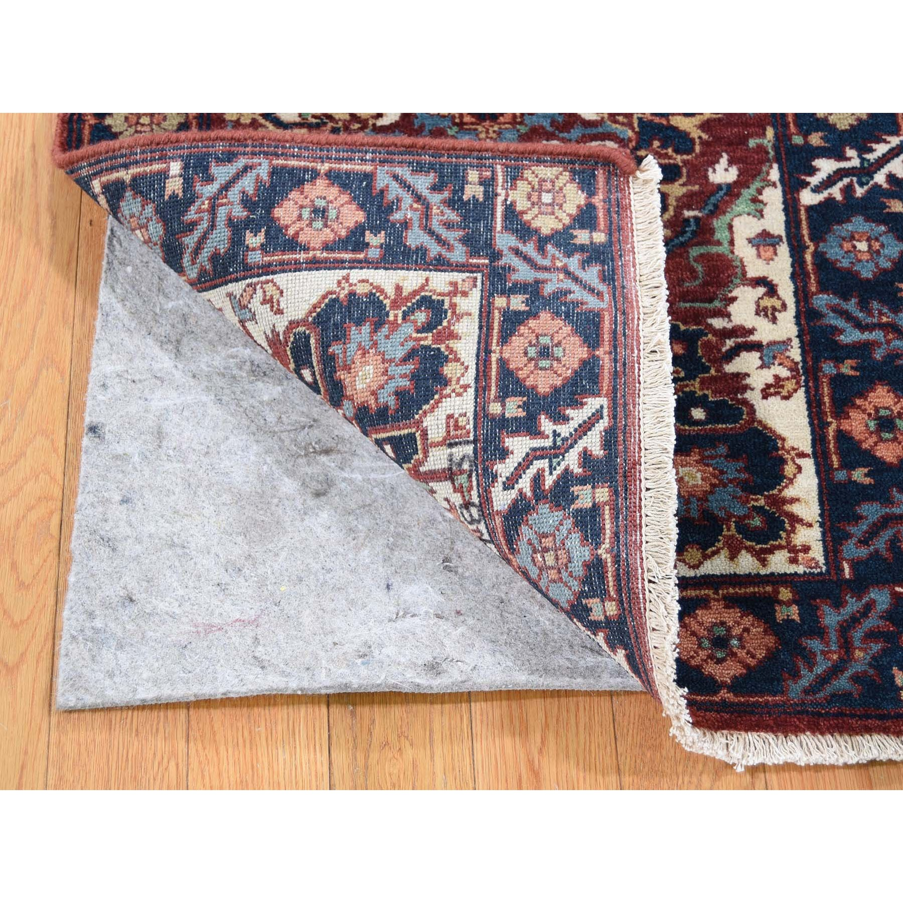 2'x3' Antiqued Heriz Re-creation Hand-Knotted Pure Wool Oriental Rug