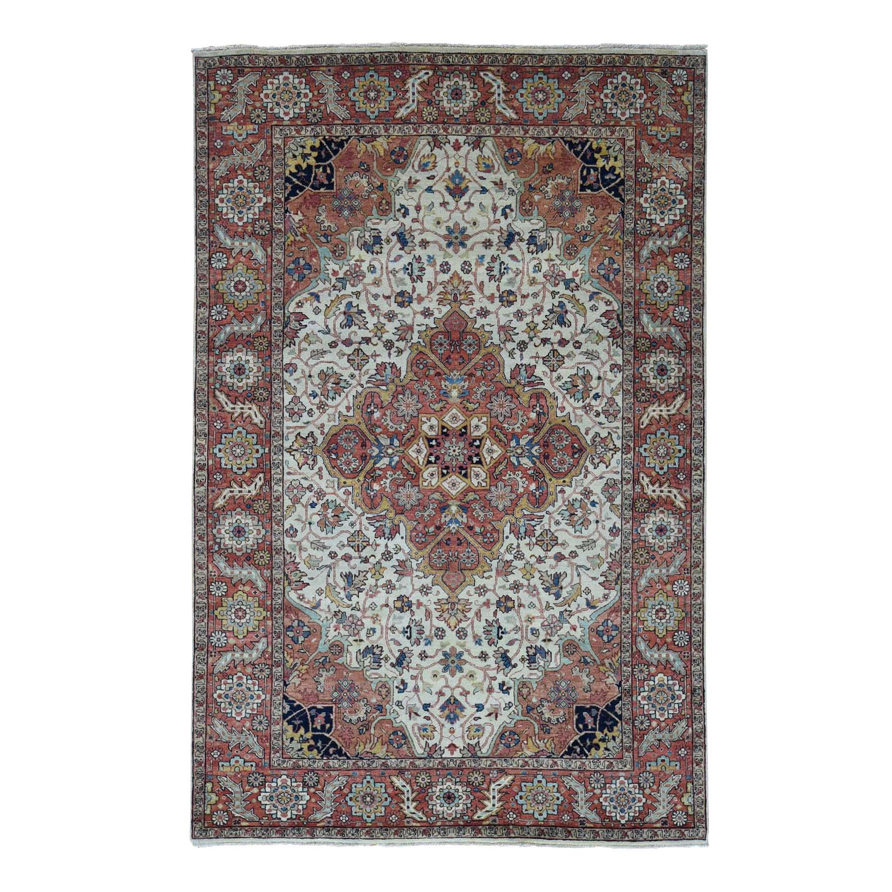 "6'X9'2"" Antiqued Heriz Re-Creation Hand Knotted Pure Wool Oriental Rug moad8dad"