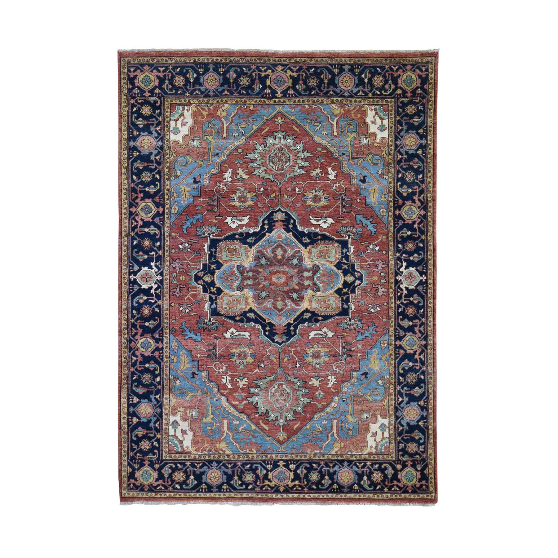 "5'X7'2"" Antiqued Heriz Re-Creation Pure Wool Hand-Knotted Oriental Rug moad8da6"