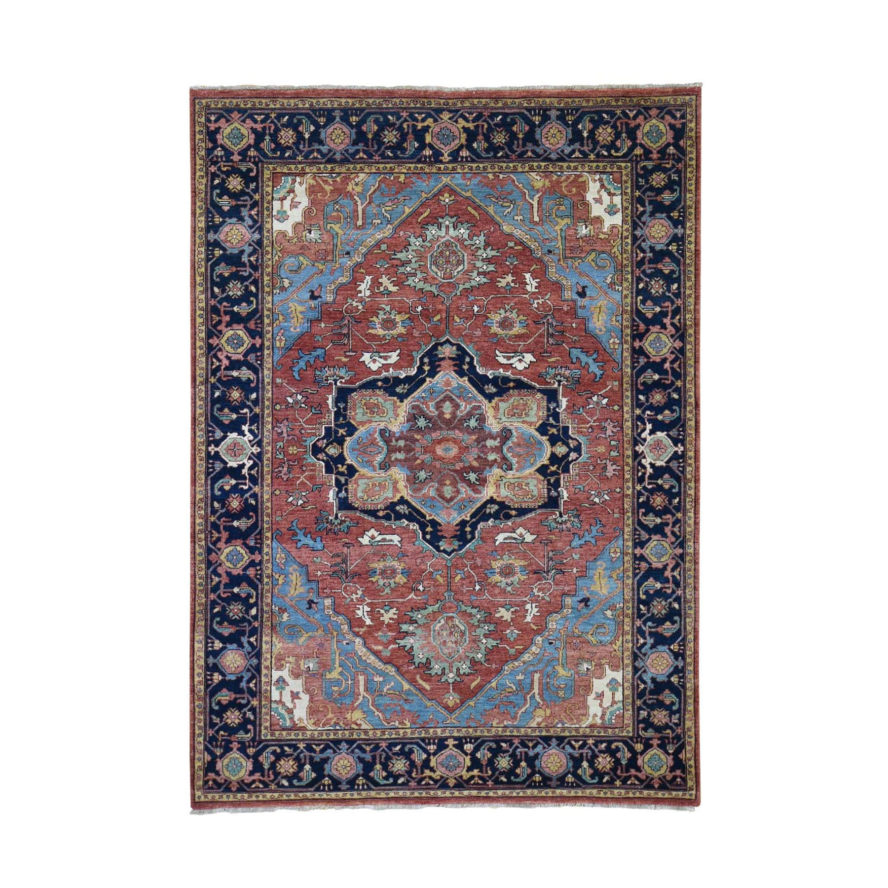 "5'2""X7'2"" Antiqued Heriz Re-Creation Pure Wool Hand Knotted Oriental Rug moad8da7"