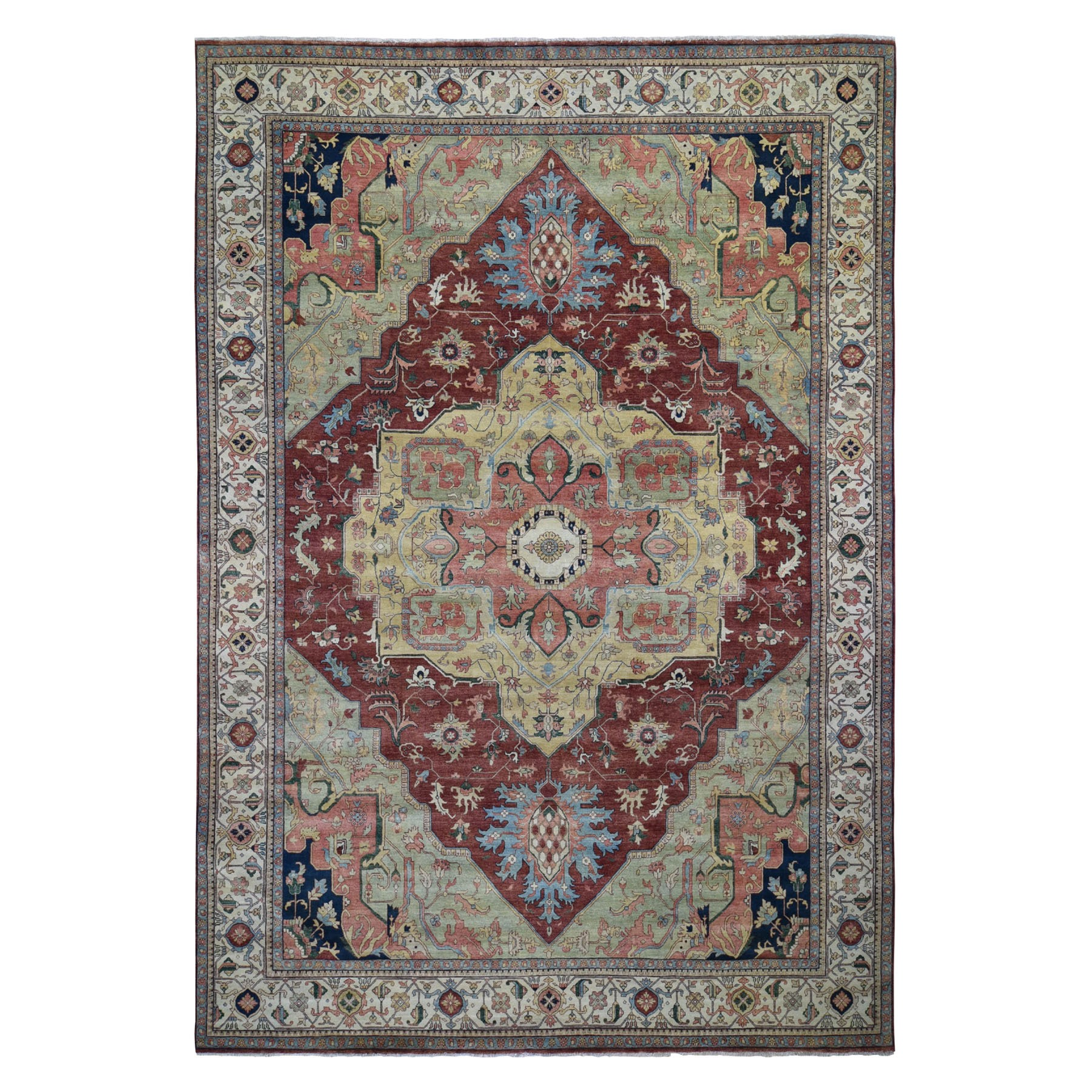 10'X14' Antiqued Heriz Re-Creation Pure Wool Hand Knotted Oriental Rug moad8dba