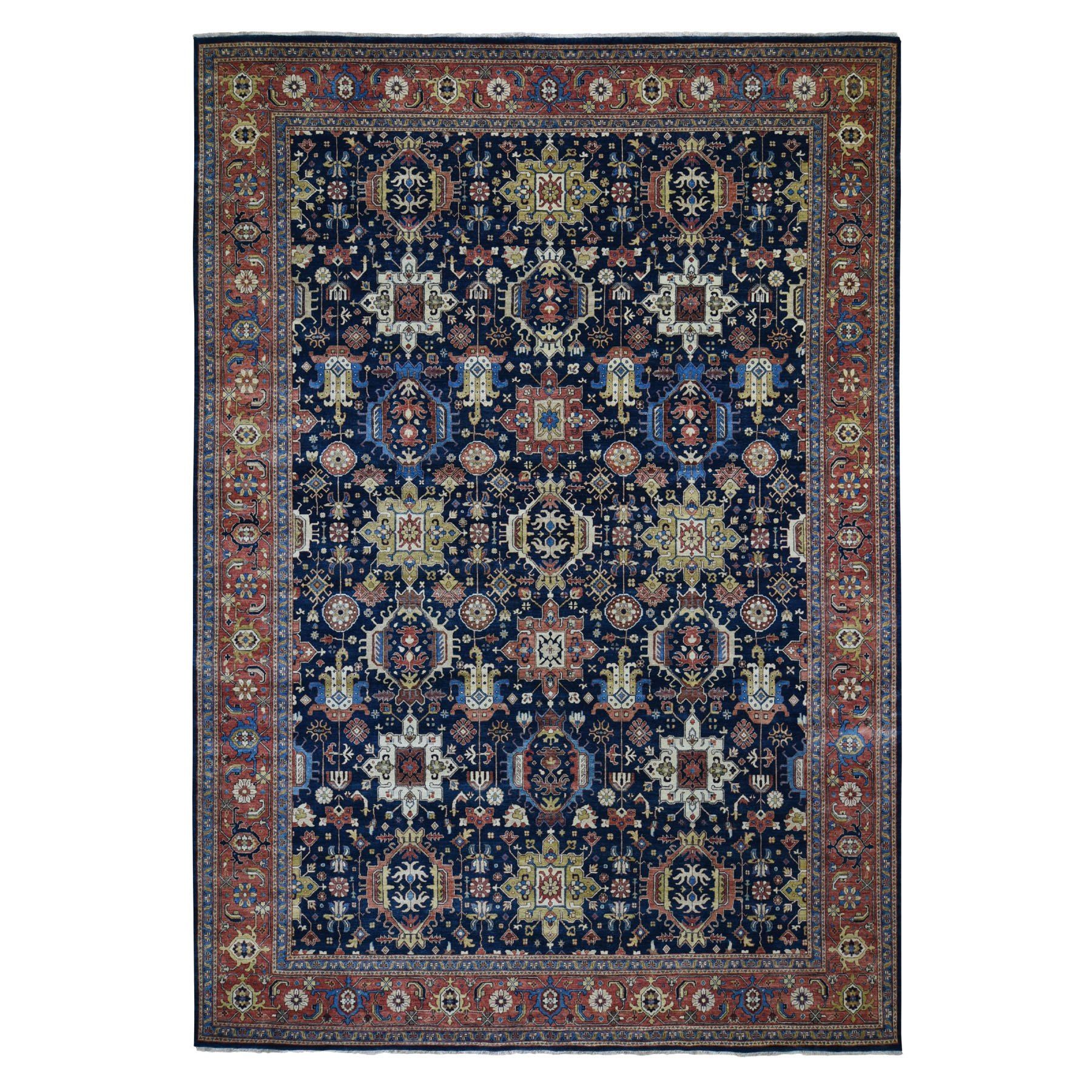 "10'1""X14'1"" Navy Blue Antiqued Heriz Re-Creation Karajeh Pure Wool Some Wear Hand Knotted Oriental Rug moad8dbb"