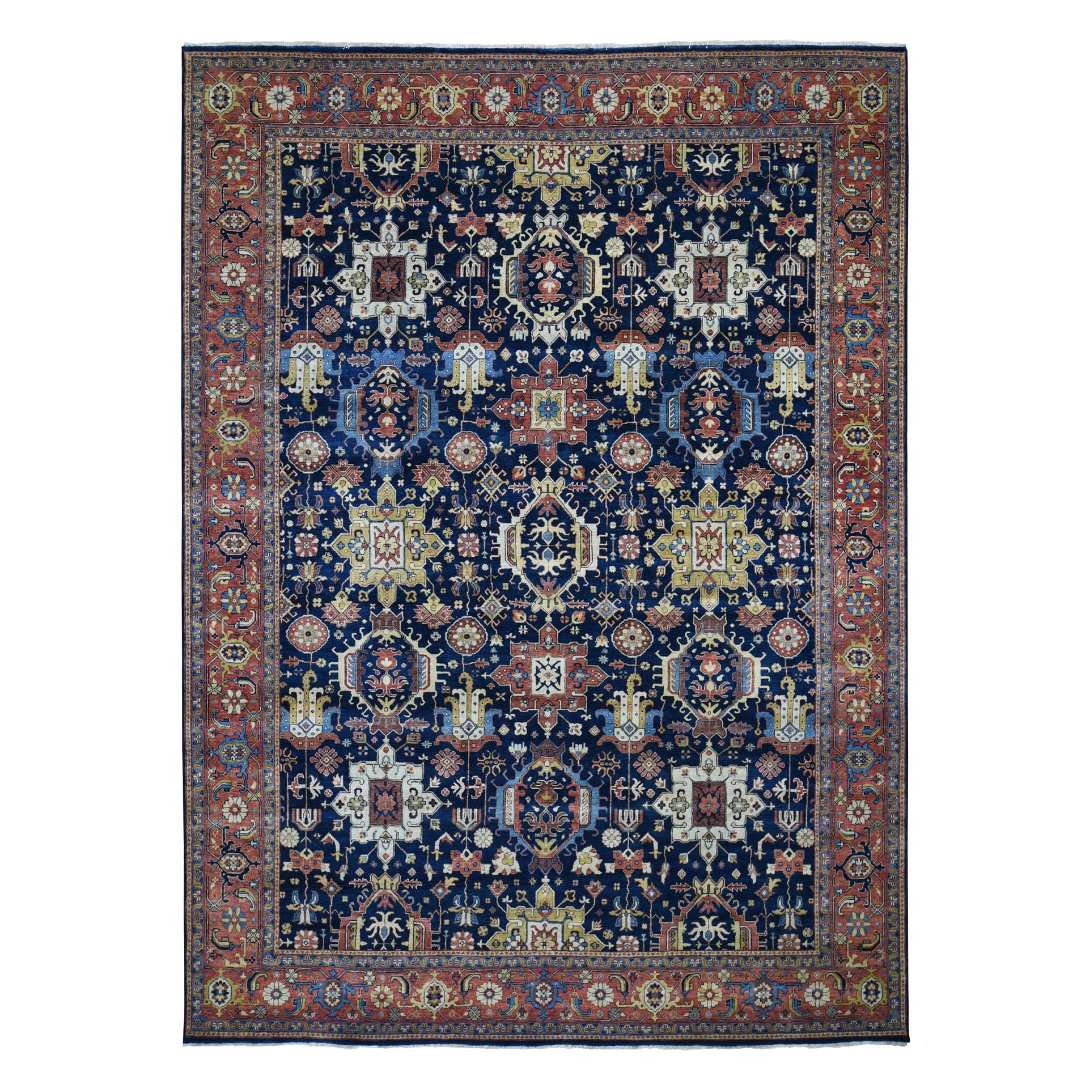 "9'X12'2"" Navy Blue Antiqued Heriz Re-Creation Pure Wool Hand Knotted Oriental Rug moad8dbc"