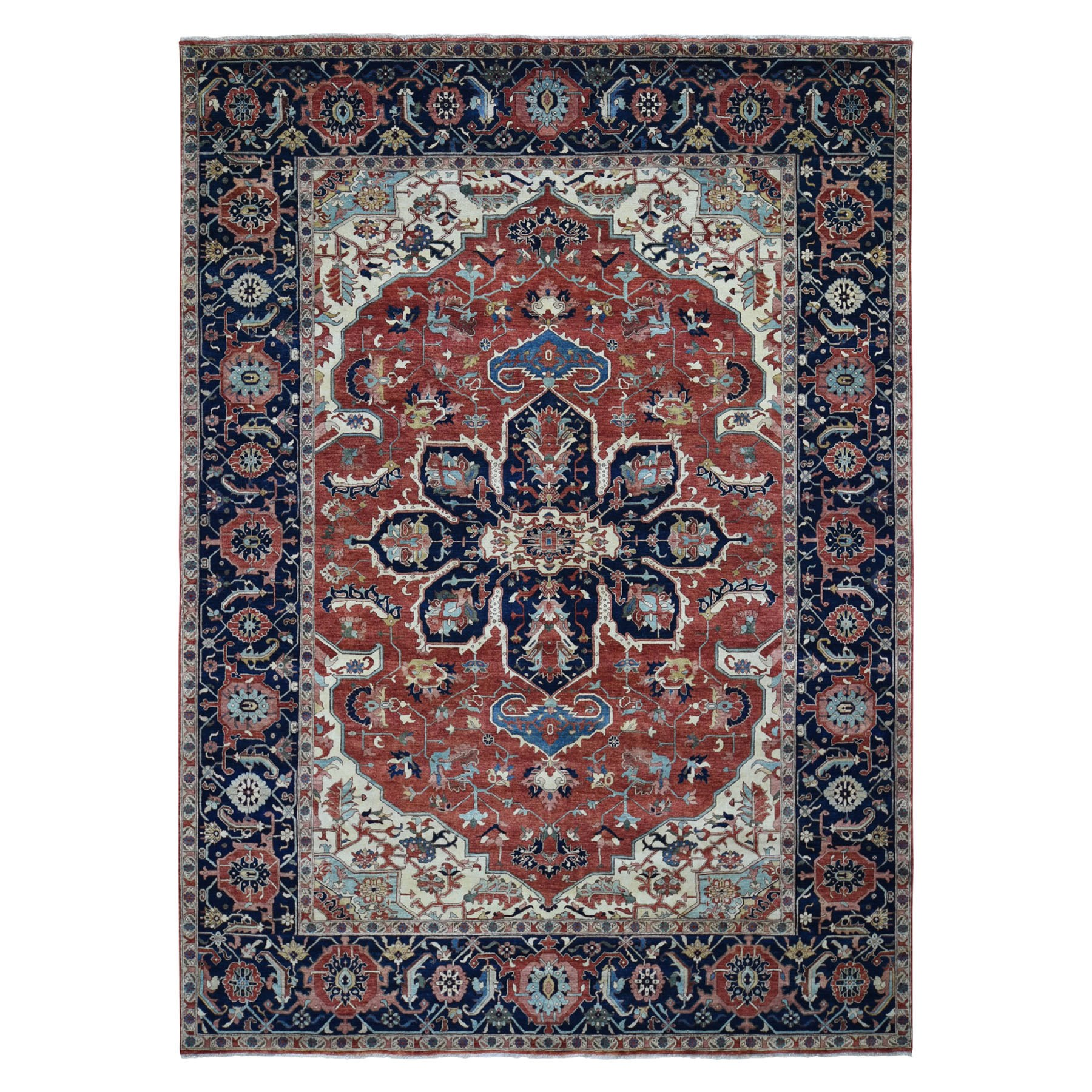 "9'1""X12'1"" Antiqued Heriz Re-Creation Pure Wool Hand Knotted Oriental Rug moad8dbd"