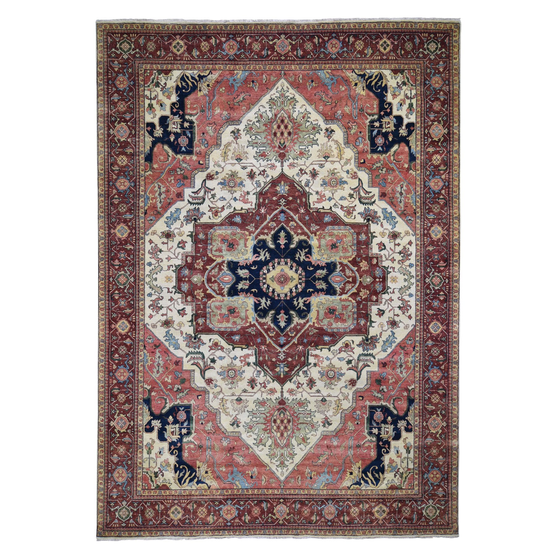 "10'1""X14'1"" Antiqued Heriz Re-Creation Hand Knotted Pure Wool Oriental Rug moad8db6"