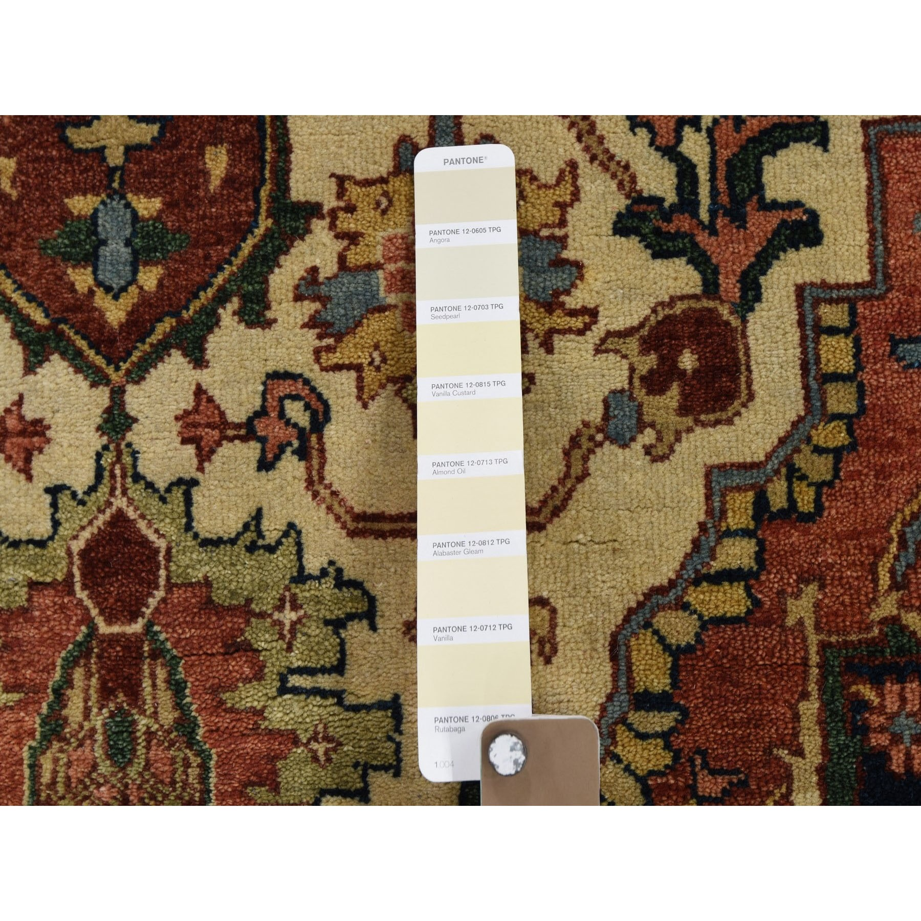 """10'1""""x14'1"""" Antiqued Heriz Re-Creation Hand Knotted Pure Wool Oriental Rug"""