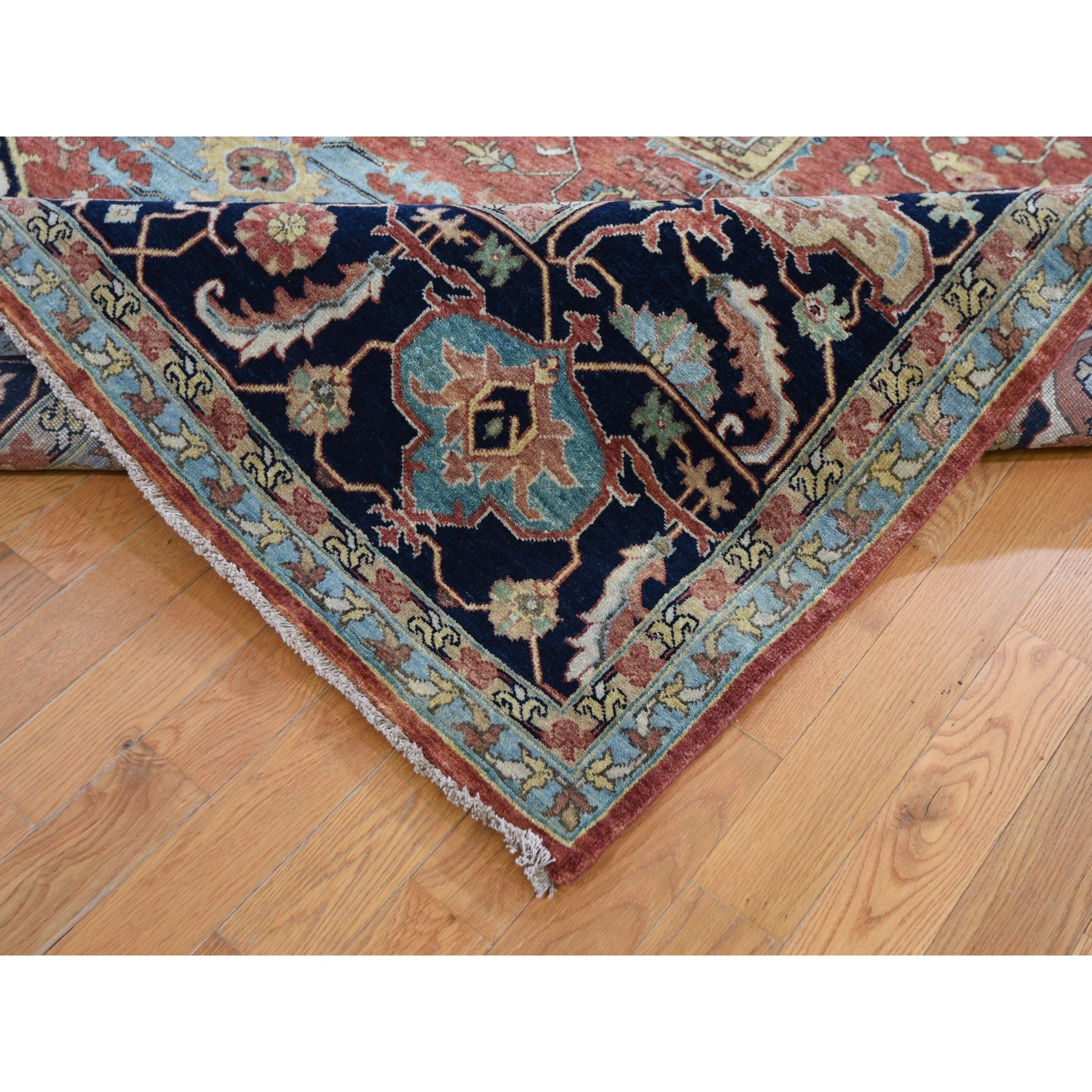 "8'2""x10' Antiqued Heriz Re-Creation Hand Knotted Pure Wool Oriental Rug"