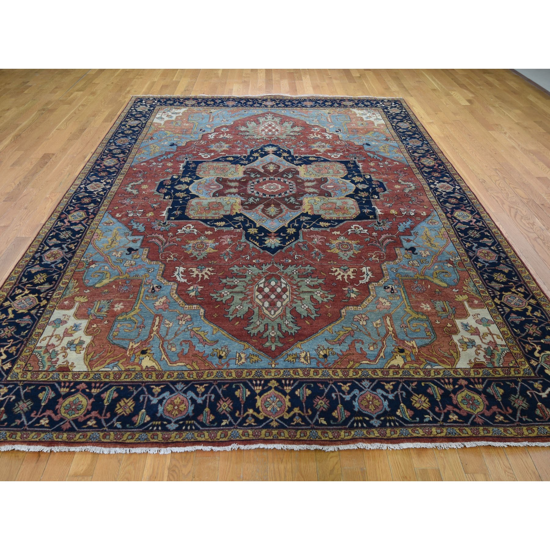 "8'10""x12'3"" Antiqued Heriz Re-creation Pure Wool Hand Knotted Oriental Rug"
