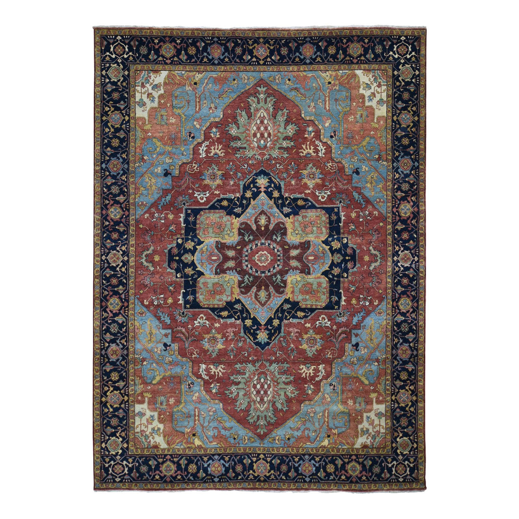"9'1""x12' Antiqued Heriz Re-creation Pure Wool Hand Knotted Oriental Rug 48433"