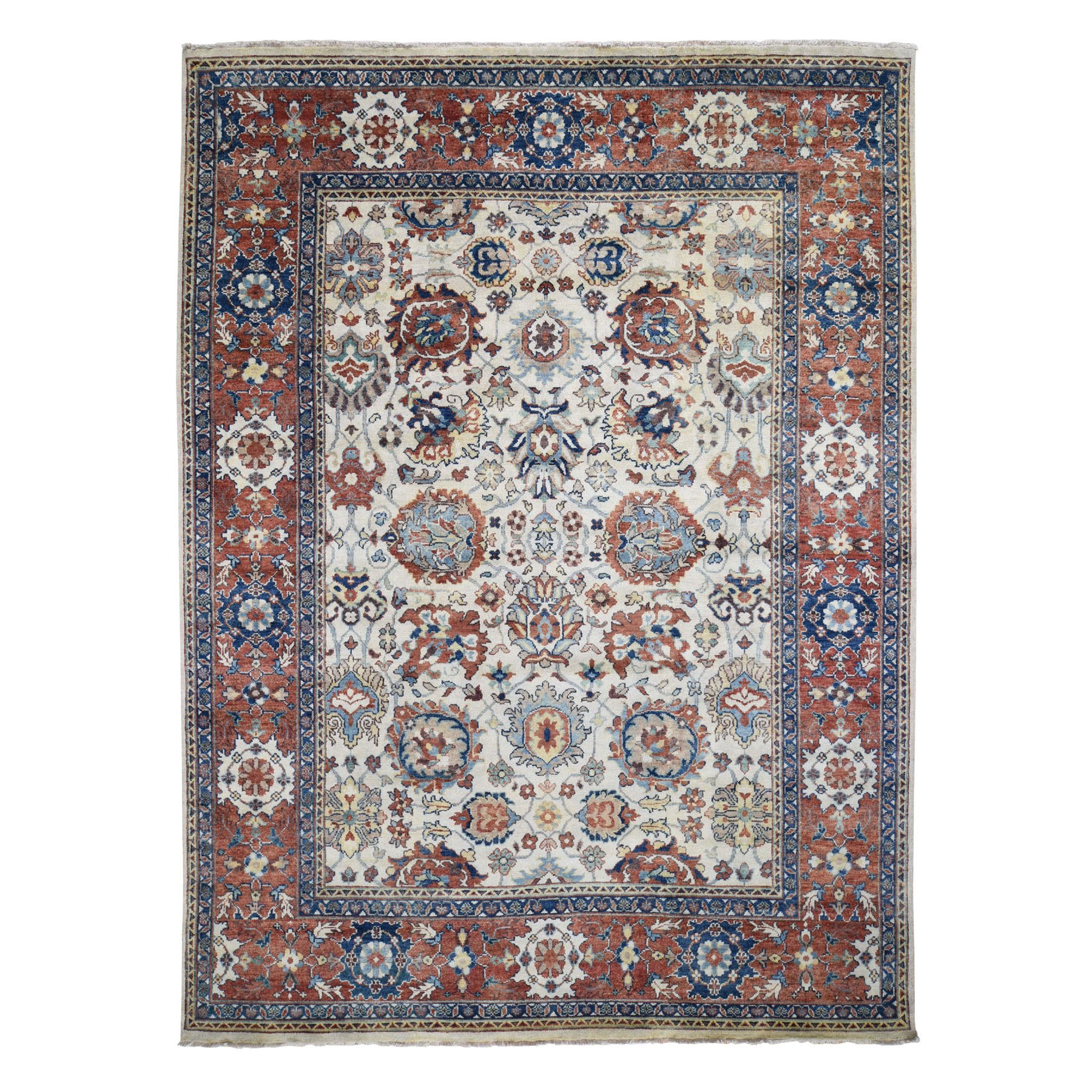 "9'X11'10"" Ivory All Over Design Heriz Revival Hand Knotted Pure Wool Oriental Rug moad8dc8"