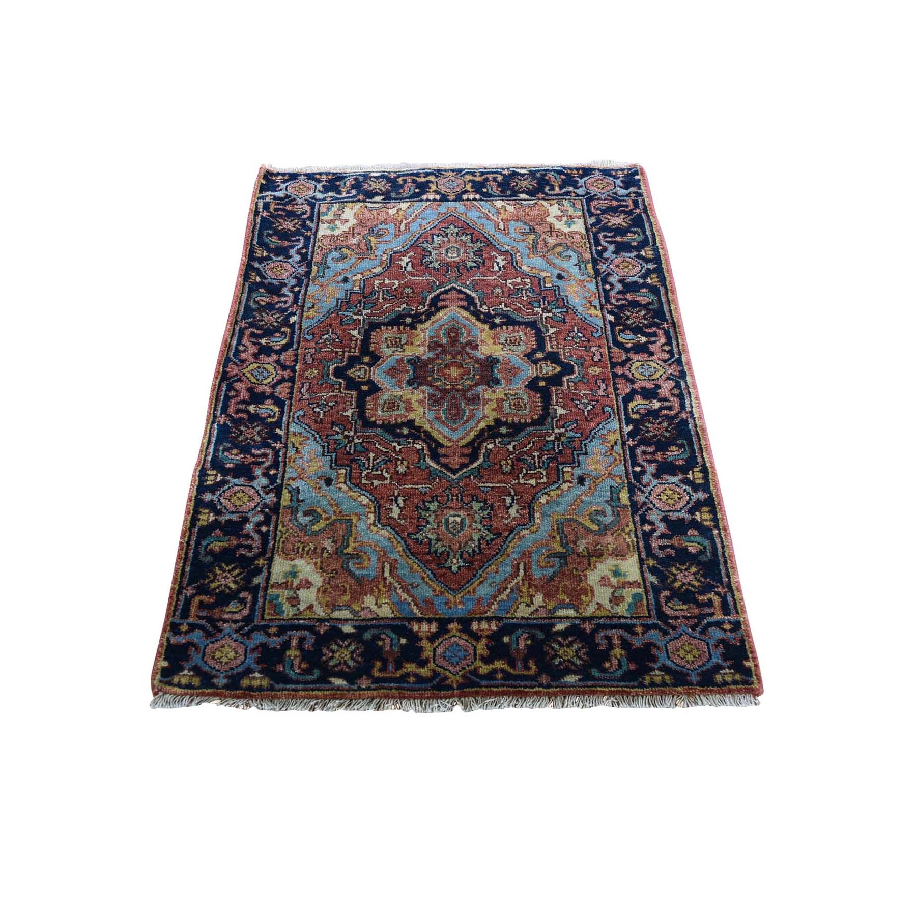 2'X3' Antiqued Heriz Re-Creation Pure Wool Hand-Knotted Oriental Rug moad8ddc