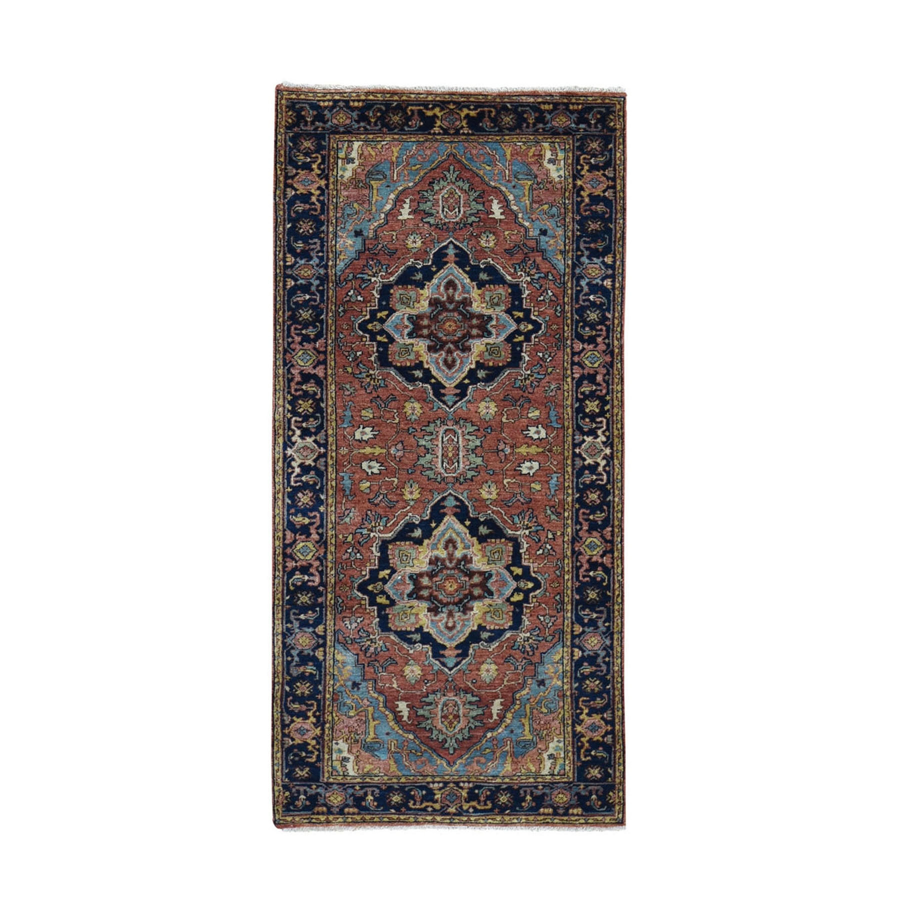 "2'7""x6'3"" Antiqued Heriz Re-creation Runner Pure Wool Hand Knotted Oriental Rug"