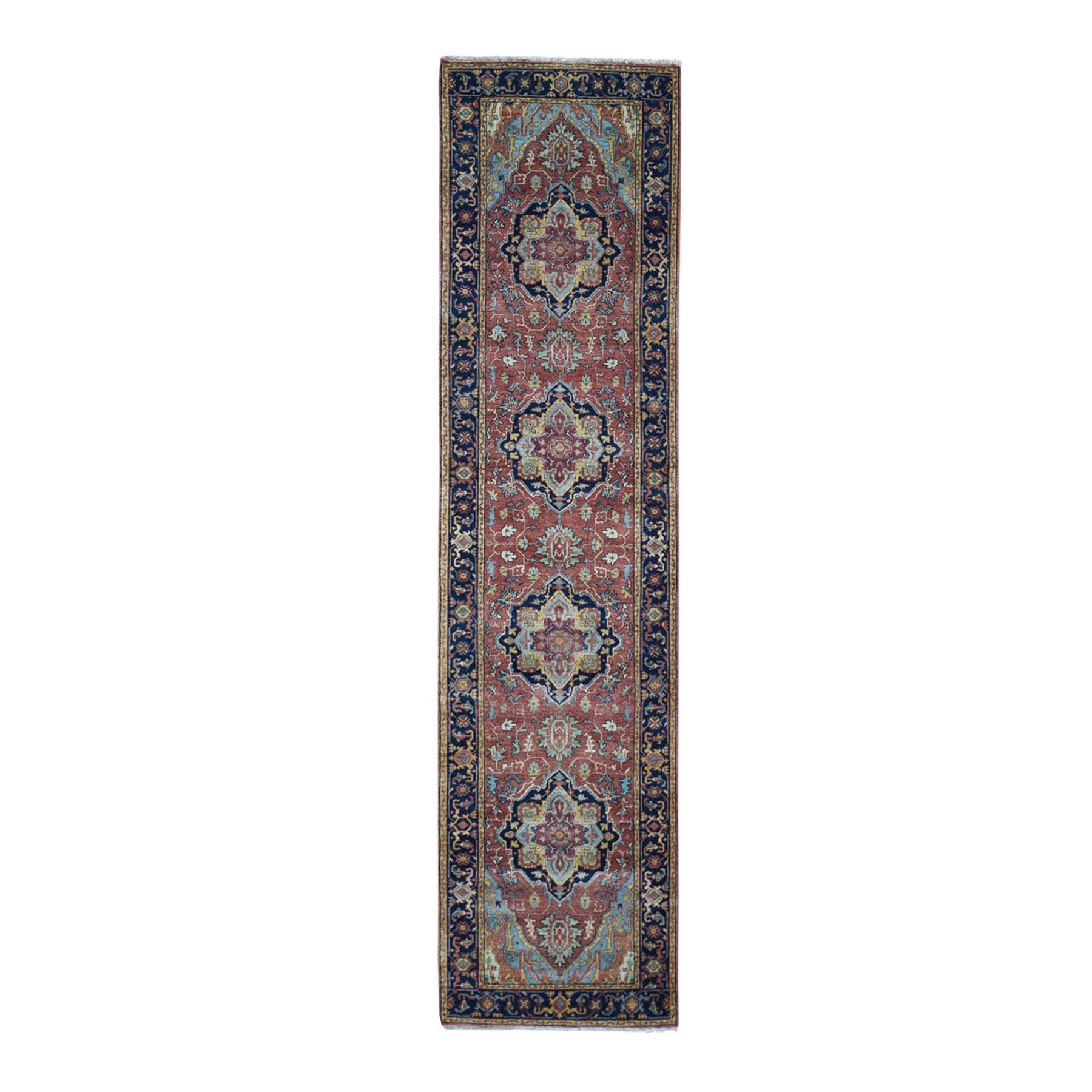 "2'7""x10'3"" Antiqued Heriz Re-creation Pure Wool Runner Hand Knotted Oriental Rug"