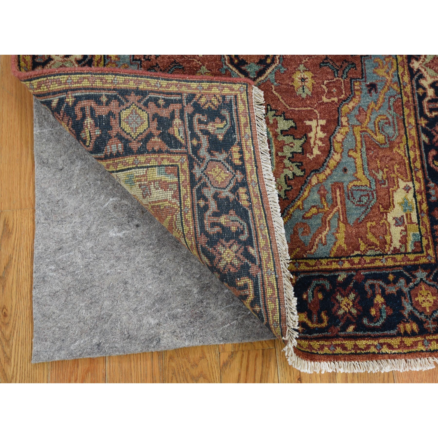 "2'6""x10'1"" Antiqued Heriz Re-creation Pure Wool Runner Hand Knotted Oriental Rug"
