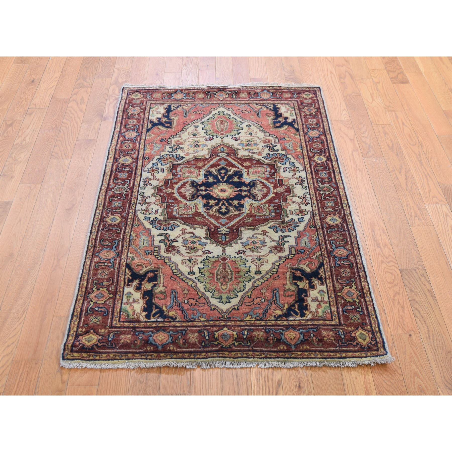 "3'x5'1"" Antiqued Heriz Re-Creation Hand Knotted Pure Wool Oriental Rug"