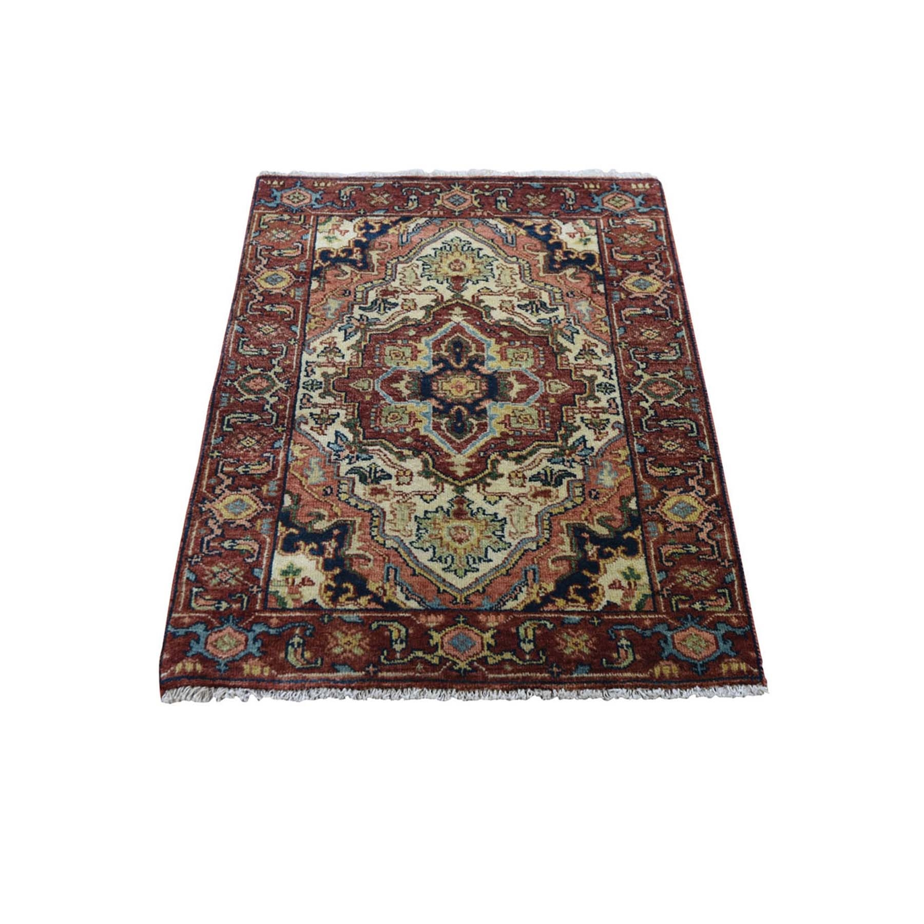 2'x3' Antiqued Heriz Re-Creation Hand Knotted Pure Wool Oriental Rug