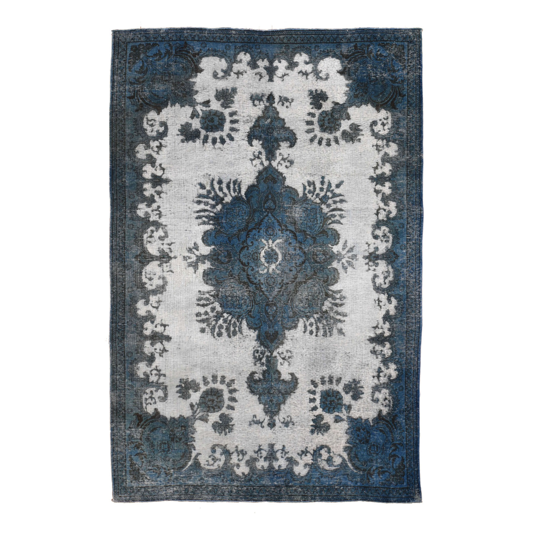 "6'5""X9' Navy Blue Overdyed Hand Knotted Persian Tabriz Barjasta Vintage Oriental Rug moad8de7"